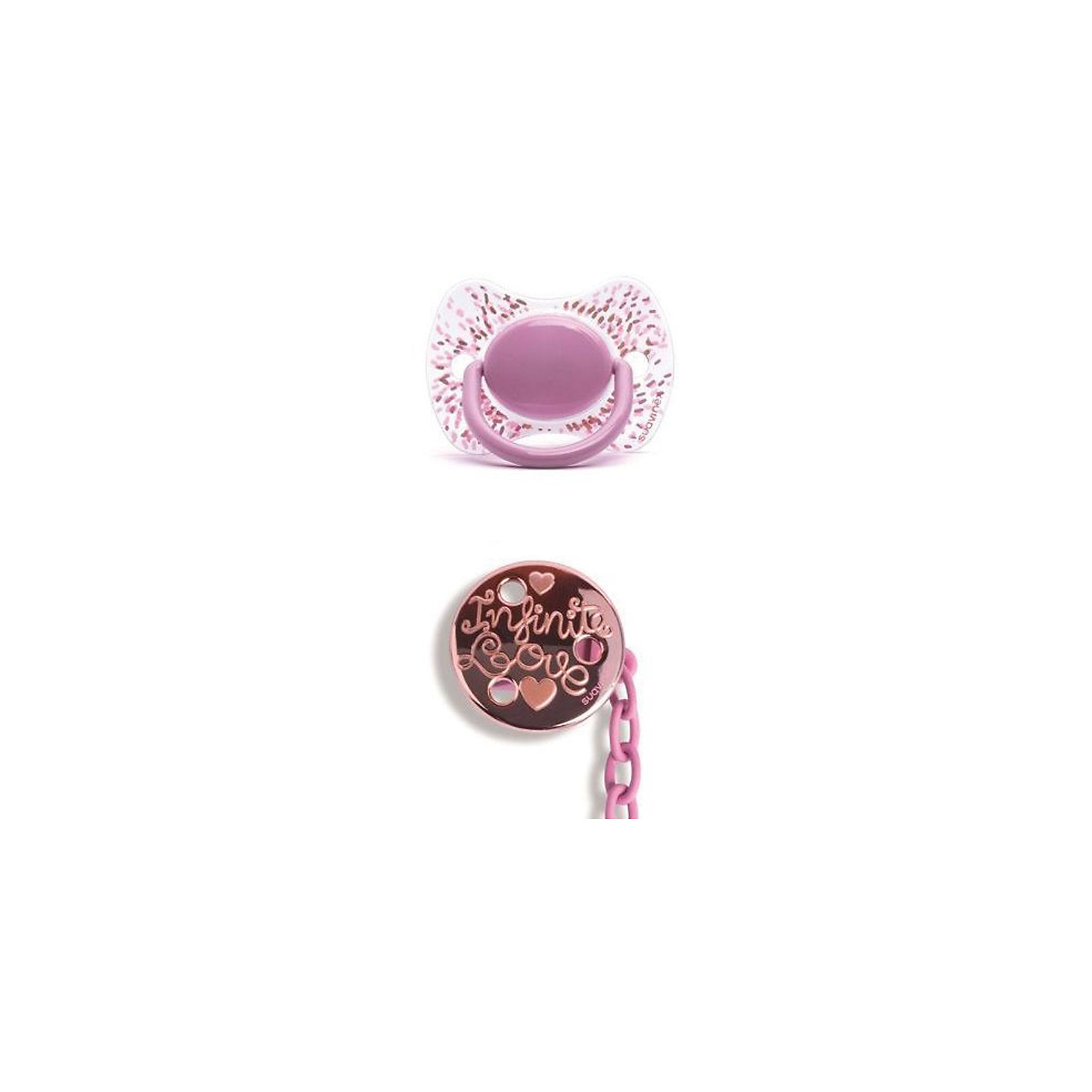 Набор пустышка+держатель от 4 мес Haute Couture, Suavinex, розовый пуантилизмПустышки и аксессуары<br>Характеристики:<br><br>• Наименование: пустышка и держатель<br>• Рекомендуемый возраст: от 4 месяцев<br>• Пол: для девочки<br>• Материал: силикон, пластик<br>• Цвет: розовый, белый, золотистый<br>• Рисунок: пуанты, сердечки<br>• Форма пустышки: физиологическая<br>• Наличие вентиляционных отверстий <br>• Кольцо для держателя<br>• Комплектация: пустышка, держатель для пустышки<br>• С эффектом позолоты<br>• Вес: 62 г<br>• Параметры (Д*Ш*В): 6,1*6,1*16 см <br>• Особенности ухода: можно мыть в теплой воде, регулярная стерилизация <br><br>Набор пустышка+держатель от 4 мес Haute Couture, Suavinex, розовый пуантилизм изготовлена испанским торговым брендом, специализирующимся на выпуске товаров для кормления и аксессуаров новорожденным и младенцам. Продукция от Suavinex разработана с учетом рекомендаций педиатров и стоматологов, что гарантирует качество и безопасность использованных материалов. <br><br>Пластик, из которого изготовлено изделие, устойчив к появлению царапин и сколов, благодаря чему пустышка длительное время сохраняет свои гигиенические свойства. Форма у соски способствует равномерному распределению давления на небо, что обеспечивает правильное формирование речевого аппарата. <br><br>Пустышка имеет классическую форму, для прикрепления держателя предусмотрено кольцо. В наборе предусмотрен держатель для пустышки, выполненный в виде цепочки на круглой прищепке. Набор выполнен в брендовом дизайне, с изображением пуантов и сердечек. Рисунок с эффектом позолоты нанесен по инновационной технологии, которая обеспечивает стойкость рисунка даже при длительном использовании и частой стерилизации.<br><br>Набор пустышка+держатель от 4 мес Haute Couture, Suavinex, розовый пуантилизм можно купить в нашем интернет-магазине.<br><br>Ширина мм: 61<br>Глубина мм: 61<br>Высота мм: 160<br>Вес г: 62<br>Возраст от месяцев: 4<br>Возраст до месяцев: 24<br>Пол: Женский<br>Возраст: Детски