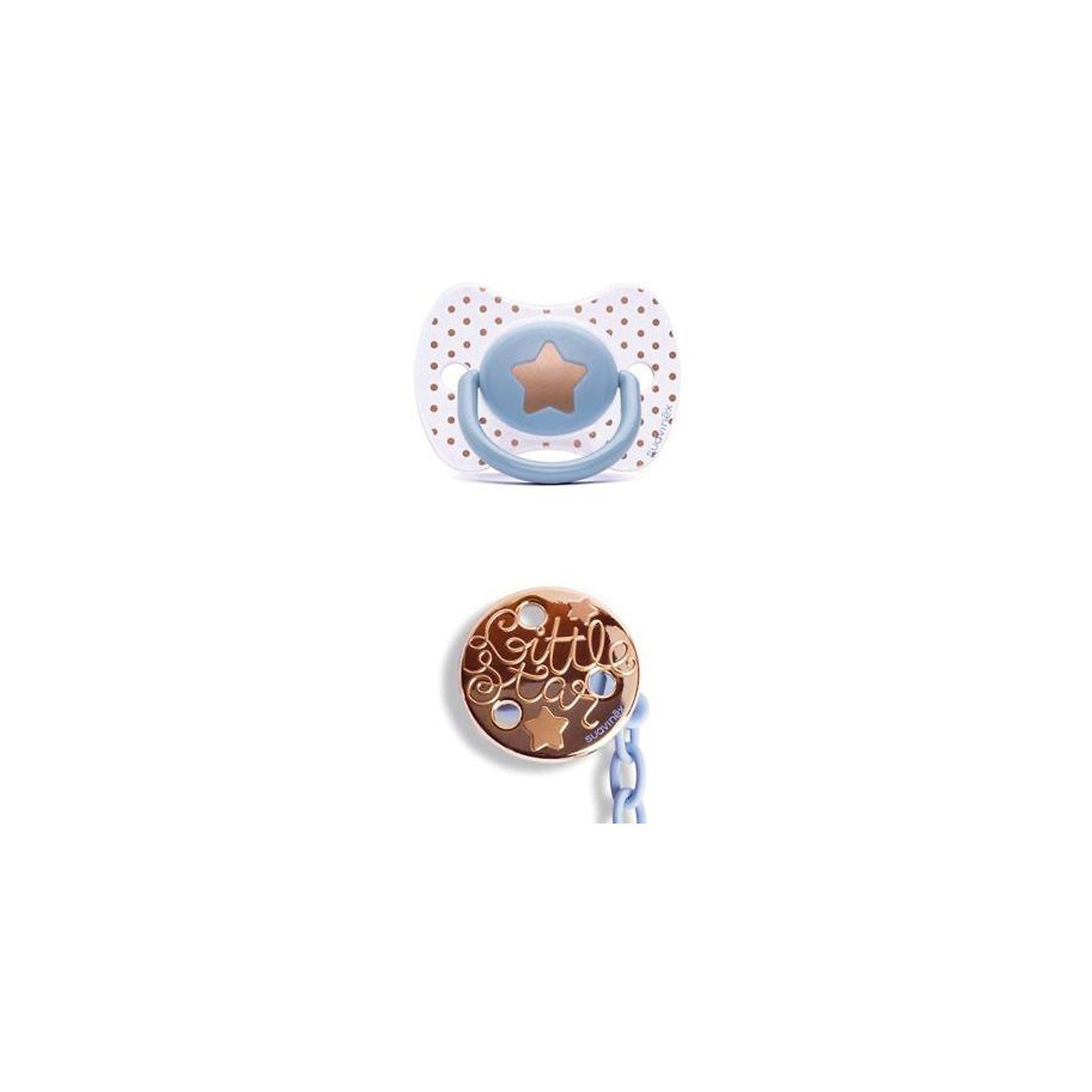Набор пустышка+держатель от 4 мес Haute Couture, Suavinex, голубой звездаПустышки и аксессуары<br>Характеристики:<br><br>• Наименование: пустышка и держатель<br>• Рекомендуемый возраст: от 4 месяцев<br>• Пол: для мальчика<br>• Материал: силикон, пластик<br>• Цвет: голубой, белый, золотистый<br>• Рисунок: звезда, горошинки<br>• Форма пустышки: физиологическая<br>• Наличие вентиляционных отверстий <br>• Кольцо для держателя<br>• Комплектация: пустышка, держатель для пустышки<br>• С эффектом позолоты<br>• Вес: 62 г<br>• Параметры (Д*Ш*В): 6,1*6,1*16 см <br>• Особенности ухода: можно мыть в теплой воде, регулярная стерилизация <br><br>Набор пустышка+держатель от 4 мес Haute Couture, Suavinex, голубой звезда изготовлен испанским торговым брендом, специализирующимся на выпуске товаров для кормления и аксессуаров новорожденным и младенцам. Продукция от Suavinex разработана с учетом рекомендаций педиатров и стоматологов, что гарантирует качество и безопасность использованных материалов. <br><br>Пластик, из которого изготовлено изделие, устойчив к появлению царапин и сколов, благодаря чему пустышка длительное время сохраняет свои гигиенические свойства. Форма у соски способствует равномерному распределению давления на небо, что обеспечивает правильное формирование речевого аппарата. <br><br>Пустышка имеет классическую форму, для прикрепления держателя предусмотрено кольцо. В наборе предусмотрен держатель для пустышки, выполненный в виде цепочки на круглой прищепке. Набор выполнен в брендовом дизайне, с изображением звезды и горошинок. Рисунок с эффектом позолоты нанесен по инновационной технологии, которая обеспечивает стойкость рисунка даже при длительном использовании и частой стерилизации.<br><br>Набор пустышка+держатель от 4 мес Haute Couture, Suavinex, голубой звезда можно купить в нашем интернет-магазине.<br><br>Ширина мм: 61<br>Глубина мм: 61<br>Высота мм: 160<br>Вес г: 62<br>Возраст от месяцев: 4<br>Возраст до месяцев: 24<br>Пол: Мужской<br>Возраст: Детский<br>SKU: 5
