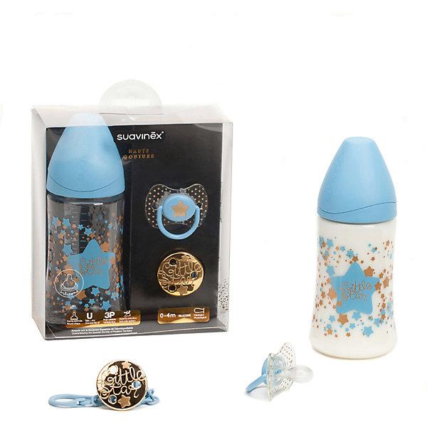 Набор бутылочка 270 мл+соска+держатель 0-4 мес Haute Couture ,Suavinex, голубой звездаБутылочки и аксессуары<br>Характеристики:<br><br>• Наименование: бутылочка, пустышка, держатель для соски<br>• Рекомендуемый возраст: от 0 до 4 месяцев<br>• Пол: для мальчика<br>• Материал: силикон, пластик<br>• Цвет: голубой, белый, золотистый<br>• Рисунок: звезда, горошинки<br>• Форма пустышки: физиологическая<br>• Кольцо для держателя<br>• Комплектация: бутылочка 270 мл, пустышка, держатель для пустышки<br>• С эффектом позолоты<br>• Вес: 67 г<br>• Параметры (Д*Ш*В): 15*7*17,5 см <br>• Особенности ухода: можно мыть в теплой воде, регулярная стерилизация <br><br>Набор бутылочка 270 мл+соска+держатель 0-4 мес Haute Couture ,Suavinex, голубой звезда изготовлен испанским торговым брендом, специализирующимся на выпуске товаров для кормления и аксессуаров новорожденным и младенцам. Продукция от Suavinex разработана с учетом рекомендаций педиатров и стоматологов, что гарантирует качество и безопасность использованных материалов. <br><br>Набор состоит из трех предметов: бутылочки 270 мл, пустышки и держателя для соски. Пластик, из которого изготовлены изделия, устойчив к появлению царапин и сколов, благодаря чему предметы длительное время сохраняют свои гигиенические свойства. Форма у соски способствует равномерному распределению давления на небо, что обеспечивает правильное формирование речевого аппарата. <br><br>Пустышка имеет классическую форму, для прикрепления держателя предусмотрено кольцо. В наборе предусмотрен держатель для пустышки, выполненный в виде цепочки на круглой прищепке. Набор выполнен в брендовом дизайне, с изображением звезд и горошинок. Рисунок с эффектом позолоты нанесен по инновационной технологии, которая обеспечивает стойкость рисунка даже при длительном использовании и частой стерилизации.<br><br>Набор бутылочка 270 мл+соска+держатель 0-4 мес Haute Couture, Suavinex, голубой звезда можно купить в нашем интернет-магазине.<br><br>Ширина мм: 150<br>Глубина мм: 70<b
