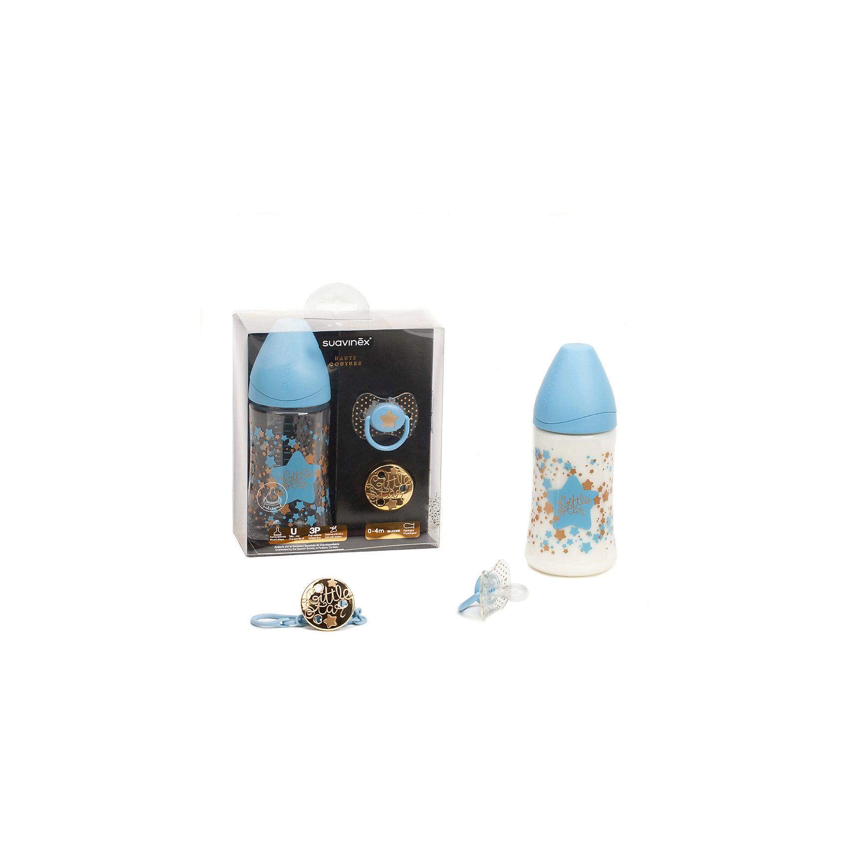 Набор бутылочка 270 мл+соска+держатель 0-4 мес Haute Couture ,Suavinex, голубой звездаИдеи подарков<br>Характеристики:<br><br>• Наименование: бутылочка, пустышка, держатель для соски<br>• Рекомендуемый возраст: от 0 до 4 месяцев<br>• Пол: для мальчика<br>• Материал: силикон, пластик<br>• Цвет: голубой, белый, золотистый<br>• Рисунок: звезда, горошинки<br>• Форма пустышки: физиологическая<br>• Кольцо для держателя<br>• Комплектация: бутылочка 270 мл, пустышка, держатель для пустышки<br>• С эффектом позолоты<br>• Вес: 67 г<br>• Параметры (Д*Ш*В): 15*7*17,5 см <br>• Особенности ухода: можно мыть в теплой воде, регулярная стерилизация <br><br>Набор бутылочка 270 мл+соска+держатель 0-4 мес Haute Couture ,Suavinex, голубой звезда изготовлен испанским торговым брендом, специализирующимся на выпуске товаров для кормления и аксессуаров новорожденным и младенцам. Продукция от Suavinex разработана с учетом рекомендаций педиатров и стоматологов, что гарантирует качество и безопасность использованных материалов. <br><br>Набор состоит из трех предметов: бутылочки 270 мл, пустышки и держателя для соски. Пластик, из которого изготовлены изделия, устойчив к появлению царапин и сколов, благодаря чему предметы длительное время сохраняют свои гигиенические свойства. Форма у соски способствует равномерному распределению давления на небо, что обеспечивает правильное формирование речевого аппарата. <br><br>Пустышка имеет классическую форму, для прикрепления держателя предусмотрено кольцо. В наборе предусмотрен держатель для пустышки, выполненный в виде цепочки на круглой прищепке. Набор выполнен в брендовом дизайне, с изображением звезд и горошинок. Рисунок с эффектом позолоты нанесен по инновационной технологии, которая обеспечивает стойкость рисунка даже при длительном использовании и частой стерилизации.<br><br>Набор бутылочка 270 мл+соска+держатель 0-4 мес Haute Couture, Suavinex, голубой звезда можно купить в нашем интернет-магазине.<br><br>Ширина мм: 150<br>Глубина мм: 70<br>Высота 