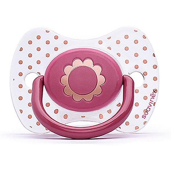 Пустышка силиконовая Haute Couture, от 12 мес, Suavinex, розовый  цветокПустышки<br>Характеристики:<br><br>• Наименование: пустышка<br>• Рекомендуемый возраст: от 4 месяцев<br>• Пол: для девочки<br>• Материал: силикон, пластик<br>• Цвет: розовый, белый, золотистый<br>• Рисунок: цветы, горошинки<br>• Форма: физиологическая<br>• Наличие вентиляционных отверстий <br>• Кольцо для держателя<br>• С эффектом позолоты<br>• Вес: 31 г<br>• Параметры (Д*Ш*В): 6,1*6,1*9,1 см <br>• Особенности ухода: можно мыть в теплой воде, регулярная стерилизация <br><br>Пустышка Haute Couture от 4 мес, Suavinex, розовый цветок изготовлена испанским торговым брендом, специализирующимся на выпуске товаров для кормления и аксессуаров новорожденным и младенцам. Продукция от Suavinex разработана с учетом рекомендаций педиатров и стоматологов, что гарантирует качество и безопасность использованных материалов. <br><br>Пластик, из которого изготовлено изделие, устойчив к появлению царапин и сколов, благодаря чему пустышка длительное время сохраняет свои гигиенические свойства. Форма у соски способствует равномерному распределению давления на небо, что обеспечивает правильное формирование речевого аппарата. <br><br>Пустышка имеет классическую форму, для прикрепления держателя предусмотрено кольцо. Изделие выполнено в брендовом дизайне, с изображением цветка. Рисунок с эффектом позолоты нанесен по инновационной технологии, которая обеспечивает стойкость рисунка даже при длительном использовании и частой стерилизации.<br><br>Пустышку Haute Couture от 4 мес, Suavinex, розовый цветок можно купить в нашем интернет-магазине.<br><br>Ширина мм: 61<br>Глубина мм: 61<br>Высота мм: 91<br>Вес г: 31<br>Возраст от месяцев: 12<br>Возраст до месяцев: 24<br>Пол: Женский<br>Возраст: Детский<br>SKU: 5451278