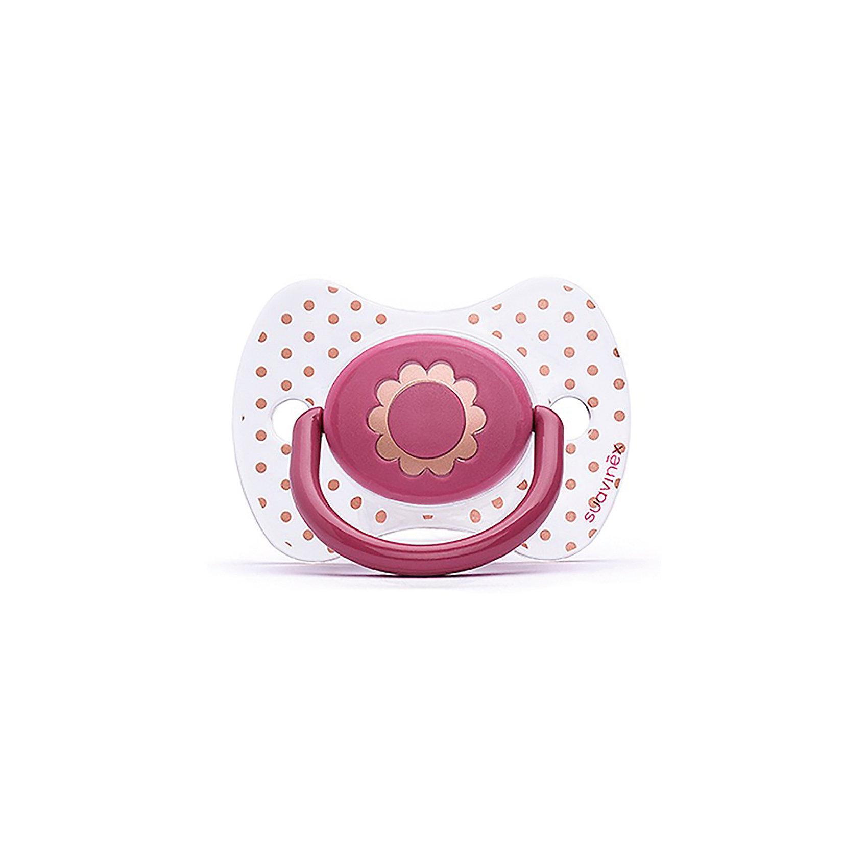 Пустышка силиконовая Haute Couture, от 12 мес, Suavinex, розовый  цветокПустышки и аксессуары<br>Характеристики:<br><br>• Наименование: пустышка<br>• Рекомендуемый возраст: от 4 месяцев<br>• Пол: для девочки<br>• Материал: силикон, пластик<br>• Цвет: розовый, белый, золотистый<br>• Рисунок: цветы, горошинки<br>• Форма: физиологическая<br>• Наличие вентиляционных отверстий <br>• Кольцо для держателя<br>• С эффектом позолоты<br>• Вес: 31 г<br>• Параметры (Д*Ш*В): 6,1*6,1*9,1 см <br>• Особенности ухода: можно мыть в теплой воде, регулярная стерилизация <br><br>Пустышка Haute Couture от 4 мес, Suavinex, розовый цветок изготовлена испанским торговым брендом, специализирующимся на выпуске товаров для кормления и аксессуаров новорожденным и младенцам. Продукция от Suavinex разработана с учетом рекомендаций педиатров и стоматологов, что гарантирует качество и безопасность использованных материалов. <br><br>Пластик, из которого изготовлено изделие, устойчив к появлению царапин и сколов, благодаря чему пустышка длительное время сохраняет свои гигиенические свойства. Форма у соски способствует равномерному распределению давления на небо, что обеспечивает правильное формирование речевого аппарата. <br><br>Пустышка имеет классическую форму, для прикрепления держателя предусмотрено кольцо. Изделие выполнено в брендовом дизайне, с изображением цветка. Рисунок с эффектом позолоты нанесен по инновационной технологии, которая обеспечивает стойкость рисунка даже при длительном использовании и частой стерилизации.<br><br>Пустышку Haute Couture от 4 мес, Suavinex, розовый цветок можно купить в нашем интернет-магазине.<br><br>Ширина мм: 61<br>Глубина мм: 61<br>Высота мм: 91<br>Вес г: 31<br>Возраст от месяцев: 12<br>Возраст до месяцев: 24<br>Пол: Женский<br>Возраст: Детский<br>SKU: 5451278