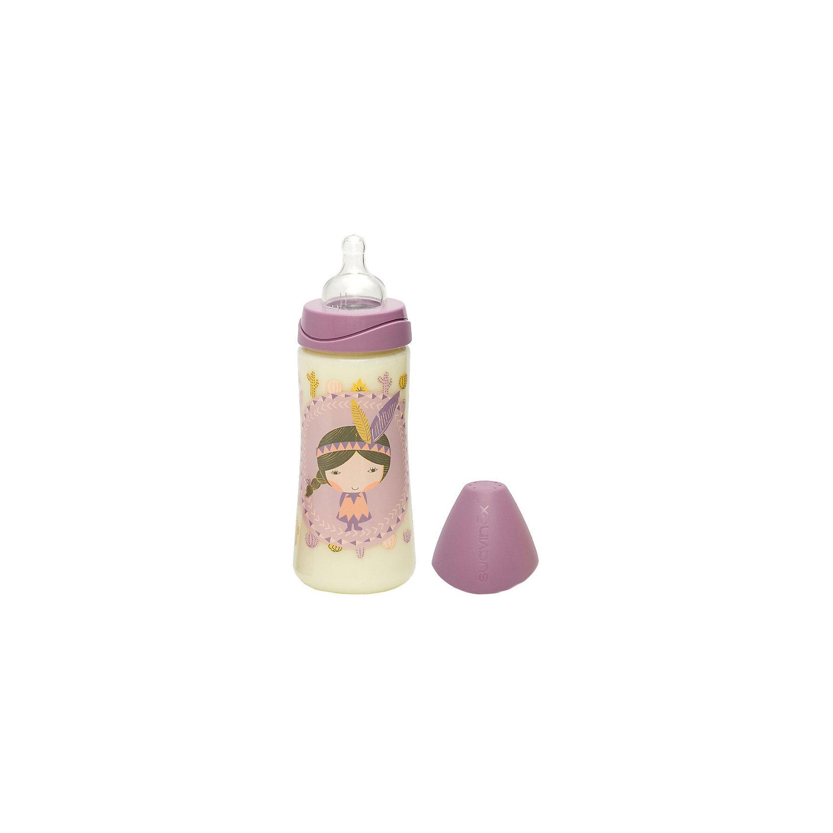 Бутылка для каш 360мл от 4мес., Suavinex, сиреневый индеецБутылочки и аксессуары<br>Характеристики:<br><br>• Наименование: бутылка для каш<br>• Рекомендуемый возраст: от 4 месяцев<br>• Пол: для девочки<br>• Объем: 360 мл<br>• Материал: силикон, пластик<br>• Цвет: сиреневый, желтый, бежевый<br>• Рисунок: индеец<br>• Форма соски: круглая<br>• Поток у соски: быстрый<br>• Комплектация: бутылочка, соска, колпачок<br>• Наличие антиколикового клапана<br>• Горлышко бутылки адаптировано под любую форму соски данного производителя<br>• Вес: 108 г<br>• Параметры (Д*Ш*В): 7*7*20 см <br>• Особенности ухода: регулярная стерилизация и своевременная замена<br><br>Бутылка для каш 360 мл от 4 мес., Suavinex, сиреневый индеец  изготовлена испанским торговым брендом, специализирующимся на выпуске товаров для кормления новорожденных и младенцев. Продукция от Suavinex разработана с учетом рекомендаций педиатров и стоматологов, что гарантирует не только качество и безопасность использованных материалов, но и обеспечивает правильное формирование неба. <br><br>Бутылочка выполнена с широким горлышком, что облегчает уход за ней. Силиконовая соска классической круглой формы длительное время сохраняет свои свойства: не рассасывается и не слипается во время кормления. <br><br>Бутылка для каш 360мл от 4мес., Suavinex, бирюзовый индеец  выполнена в брендовом дизайне с изображением индейской девочки. Рисунок устойчив к появлениям царапин и выгоранию цвета даже при частой стерилизации. Бутылка для каш 360 мл от 4 мес., Suavinex, сиреневый индеец станет непревзойденным аксессуаром для кормления вашего малыша.<br><br>Бутылку для каш 360 мл от 4 мес., Suavinex, сиреневый индеец  можно купить в нашем интернет-магазине.<br><br>Ширина мм: 70<br>Глубина мм: 70<br>Высота мм: 200<br>Вес г: 108<br>Возраст от месяцев: 4<br>Возраст до месяцев: 24<br>Пол: Женский<br>Возраст: Детский<br>SKU: 5451282