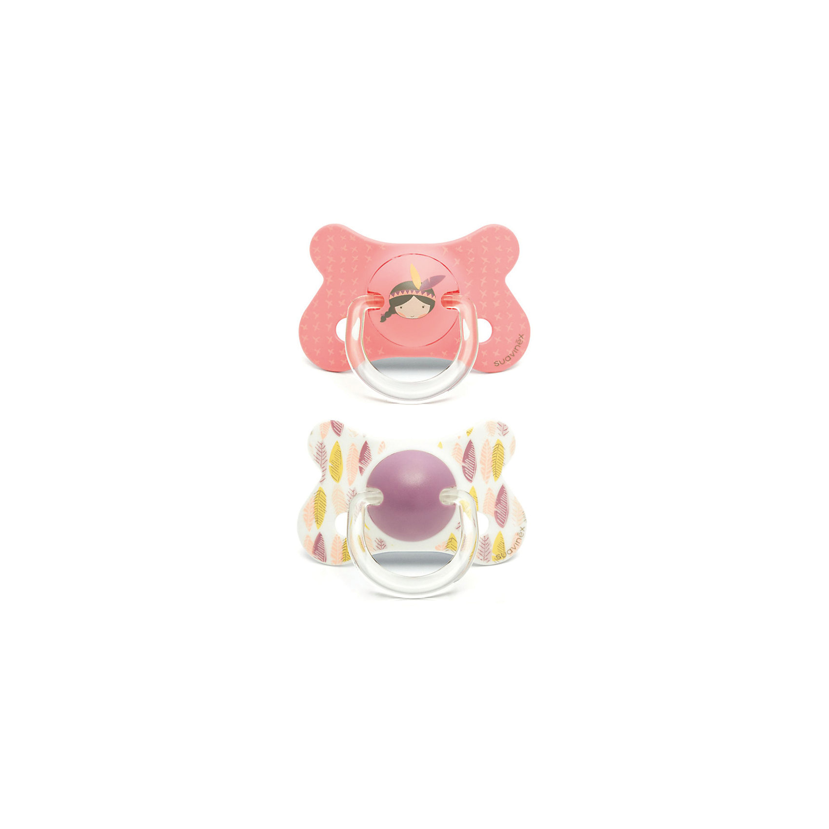 Пустышка силиконовая от 18мес., 2шт., Suavinex, розовый индеецПустышки и аксессуары<br>Характеристики:<br><br>• Наименование: пустышка<br>• Рекомендуемый возраст: от 18 месяцев<br>• Пол: для девочки<br>• Материал: силикон, пластик<br>• Цвет: розовый, красный, коричневый, белый, желтый<br>• Рисунок: индеец, перья<br>• Форма: анатомическая<br>• Комплектация: 2 пустышки<br>• Наличие вентиляционных отверстий <br>• Кольцо для держателя<br>• Вес: 40 г<br>• Параметры (Д*Ш*В): 5,4*6,5*14,1 см <br>• Особенности ухода: можно мыть в теплой воде, регулярная стерилизация <br><br>Пустышка от 18 мес., 2 шт., Suavinex, розовый индеец изготовлена испанским торговым брендом, специализирующимся на выпуске товаров для кормления и аксессуаров новорожденным и младенцам. Продукция от Suavinex разработана с учетом рекомендаций педиатров и стоматологов, что гарантирует качество и безопасность использованных материалов. <br><br>Пластик, из которого изготовлено изделие, устойчив к появлению царапин и сколов, благодаря чему пустышка длительное время сохраняет свои гигиенические свойства. Форма у соски способствует равномерному распределению давления на небо, что обеспечивает правильное формирование речевого аппарата. <br><br>Пустышка имеет анатомическую форму, для прикрепления держателя предусмотрено кольцо. Изделие выполнено в брендовом дизайне, с изображением индейской тематики. Рисунок нанесен по инновационной технологии, которая обеспечивает его стойкость даже при длительном использовании и частой стерилизации.<br><br>Пустышку от от 18 мес., 2 шт., Suavinex, розовый индеец можно купить в нашем интернет-магазине.<br><br>Ширина мм: 54<br>Глубина мм: 65<br>Высота мм: 141<br>Вес г: 40<br>Возраст от месяцев: 18<br>Возраст до месяцев: 24<br>Пол: Женский<br>Возраст: Детский<br>SKU: 5451286
