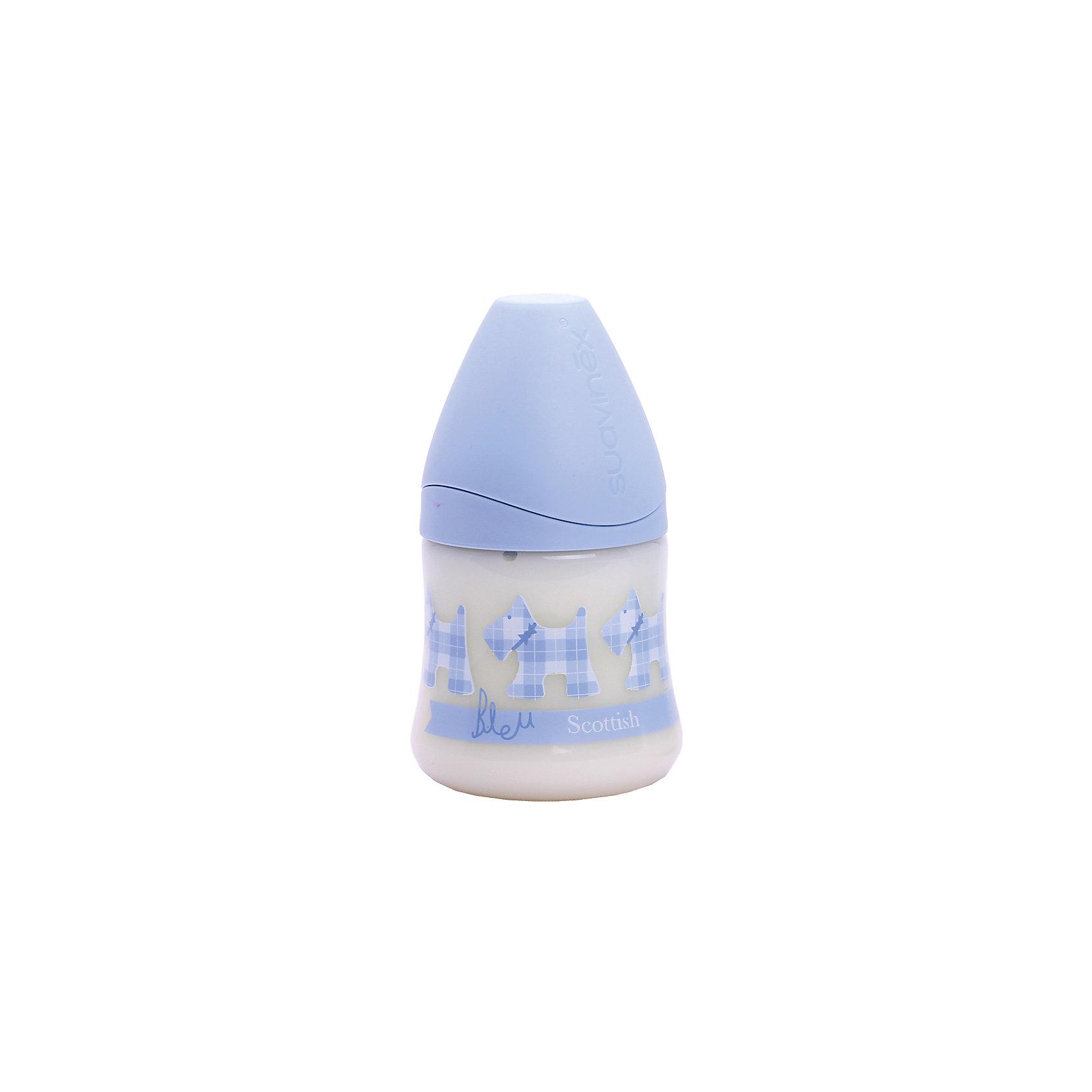 Бутылка 150мл SCOTTISHот 0-6 мес., Suavinex, голубой собачкаБутылочки и аксессуары<br>Характеристики:<br><br>• Наименование: бутылка для кормления<br>• Рекомендуемый возраст: от 0 до 6 месяцев<br>• Пол: для мальчика<br>• Объем: 150 мл<br>• Материал: силикон, пластик<br>• Цвет: оттенки голубого, белый<br>• Рисунок: собачка, шотландская клетка<br>• Форма соски: анатомическая<br>• Комплектация: бутылочка, соска, колпачок<br>• Наличие антиколикового клапана<br>• Горлышко бутылки адаптировано под любую форму соски данного производителя<br>• Вес: 85 г<br>• Параметры (Д*Ш*В): 7*7*13,3 см <br>• Особенности ухода: регулярная стерилизация и своевременная замена<br><br>Бутылка 150 мл SCOTTISH от 0-6 мес., Suavinex, голубой собачка изготовлена испанским торговым брендом, специализирующимся на выпуске товаров для кормления новорожденных и младенцев. Продукция от Suavinex разработана с учетом рекомендаций педиатров и стоматологов, что гарантирует не только качество и безопасность использованных материалов, но и обеспечивает правильное формирование неба. <br><br>Бутылочка выполнена с широким горлышком, что облегчает уход за ней. Силиконовая соска анатомической формы длительное время сохраняет свои свойства: не рассасывается и не слипается во время кормления. <br><br>Выполнена бутылка в стильном шотландском дизайне. Рисунок устойчив к появлениям царапин и выгоранию цвета даже при частой стерилизации. Бутылка 150 мл SCOTTISH от 0-6 мес., Suavinex, голубой собачка станет непревзойденным аксессуаром для кормления вашего малыша.<br><br>Бутылку 150 мл SCOTTISH от 0-6 мес., Suavinex, голубой собачка можно купить в нашем интернет-магазине.<br><br>Ширина мм: 70<br>Глубина мм: 70<br>Высота мм: 133<br>Вес г: 85<br>Возраст от месяцев: 0<br>Возраст до месяцев: 6<br>Пол: Мужской<br>Возраст: Детский<br>SKU: 5451293
