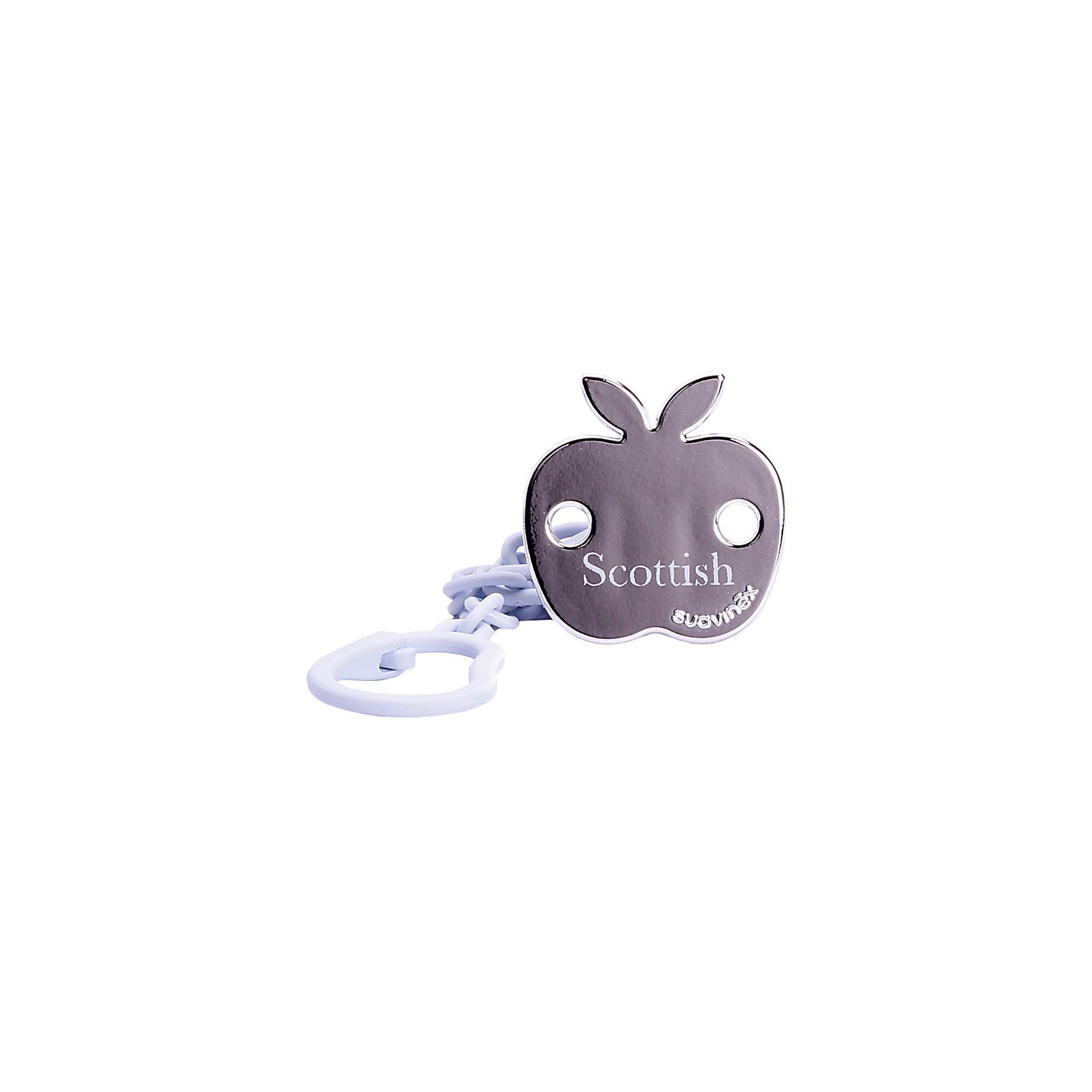 Держатель для пустышки SCOTTISH с зажимом, Suavinex, голубое яблокоХарактеристики:<br><br>• Наименование: держатель для пустышки<br>• Пол: для мальчика<br>• Материал: пластик<br>• Цвет: голубой, золотистый<br>• Рисунок: яблоко<br>• Универсальный механизм для закрепления любых пустышек<br>• Вид держателя: на цепочке с клипсой<br>• Покрытие с эффектом позолоты<br>• Вес: 30 г<br>• Параметры (Д*Ш*В): 5,4*6,5*10,9 см <br>• Особенности ухода: можно мыть в теплой воде, допускается стерилизация<br><br>Держатель для пустышки SCOTTISH с зажимом, Suavinex, голубое яблоко изготовлен испанским торговым брендом, специализирующимся на выпуске товаров для кормления и аксессуаров для младенцев. Продукция от Suavinex премиум-класса разработана из экологически безопасных и прочных материалов, устойчивых к повреждениям, появлению царапин и изменению цвета. <br><br>Держатель для пустышки выполнен в виде цепочки с крупными звеньями, С одной стороны, у держателя предусмотрено кольцо, с другой – клипса. Клипса оформлена в брендовом дизайне в виде яблока с эффектом позолоты. Держатель для пустышки SCOTTISH с зажимом, Suavinex, голубое яблоко – это не только необходимый предмет ухода за младенцем, но и стильный аксессуар. <br><br>Держатель для пустышки SCOTTISH с зажимом, Suavinex, голубое яблоко можно купить в нашем интернет-магазине.<br><br>Ширина мм: 54<br>Глубина мм: 65<br>Высота мм: 109<br>Вес г: 30<br>Возраст от месяцев: 0<br>Возраст до месяцев: 24<br>Пол: Мужской<br>Возраст: Детский<br>SKU: 5451300