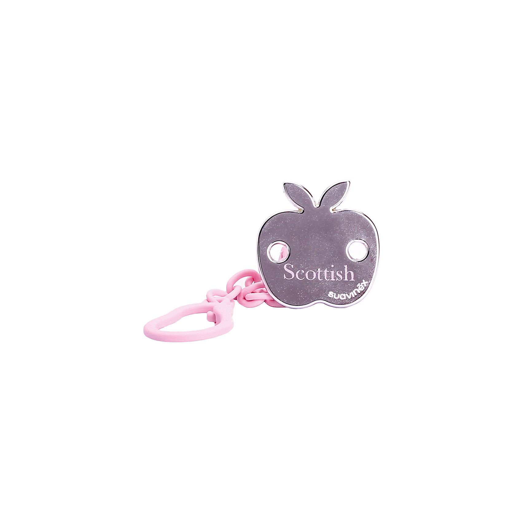 Держатель для пустышки SCOTTISH с зажимом, Suavinex, розовое яблокоПустышки и аксессуары<br>Характеристики:<br><br>• Наименование: держатель для пустышки<br>• Пол: для девочки<br>• Материал: пластик<br>• Цвет: розовый, золотистый<br>• Рисунок: яблоко<br>• Универсальный механизм для закрепления любых пустышек<br>• Вид держателя: на цепочке с клипсой<br>• Покрытие с эффектом позолоты<br>• Вес: 30 г<br>• Параметры (Д*Ш*В): 5,4*6,5*10,9 см <br>• Особенности ухода: можно мыть в теплой воде, допускается стерилизация<br><br>Держатель для пустышки SCOTTISH с зажимом, Suavinex, розовое яблоко изготовлен испанским торговым брендом, специализирующимся на выпуске товаров для кормления и аксессуаров для младенцев. Продукция от Suavinex премиум-класса разработана из экологически безопасных и прочных материалов, устойчивых к повреждениям, появлению царапин и изменению цвета. <br><br>Держатель для пустышки выполнен в виде цепочки с крупными звеньями, С одной стороны, у держателя предусмотрено кольцо, с другой – клипса. Клипса оформлена в брендовом дизайне в виде яблока с эффектом позолоты. Держатель для пустышки SCOTTISH с зажимом, Suavinex, розовое яблоко – это не только необходимый предмет ухода за младенцем, но и стильный аксессуар. <br><br>Держатель для пустышки SCOTTISH с зажимом, Suavinex, розовое яблоко можно купить в нашем интернет-магазине.<br><br>Ширина мм: 54<br>Глубина мм: 65<br>Высота мм: 109<br>Вес г: 30<br>Возраст от месяцев: 0<br>Возраст до месяцев: 24<br>Пол: Женский<br>Возраст: Детский<br>SKU: 5451301