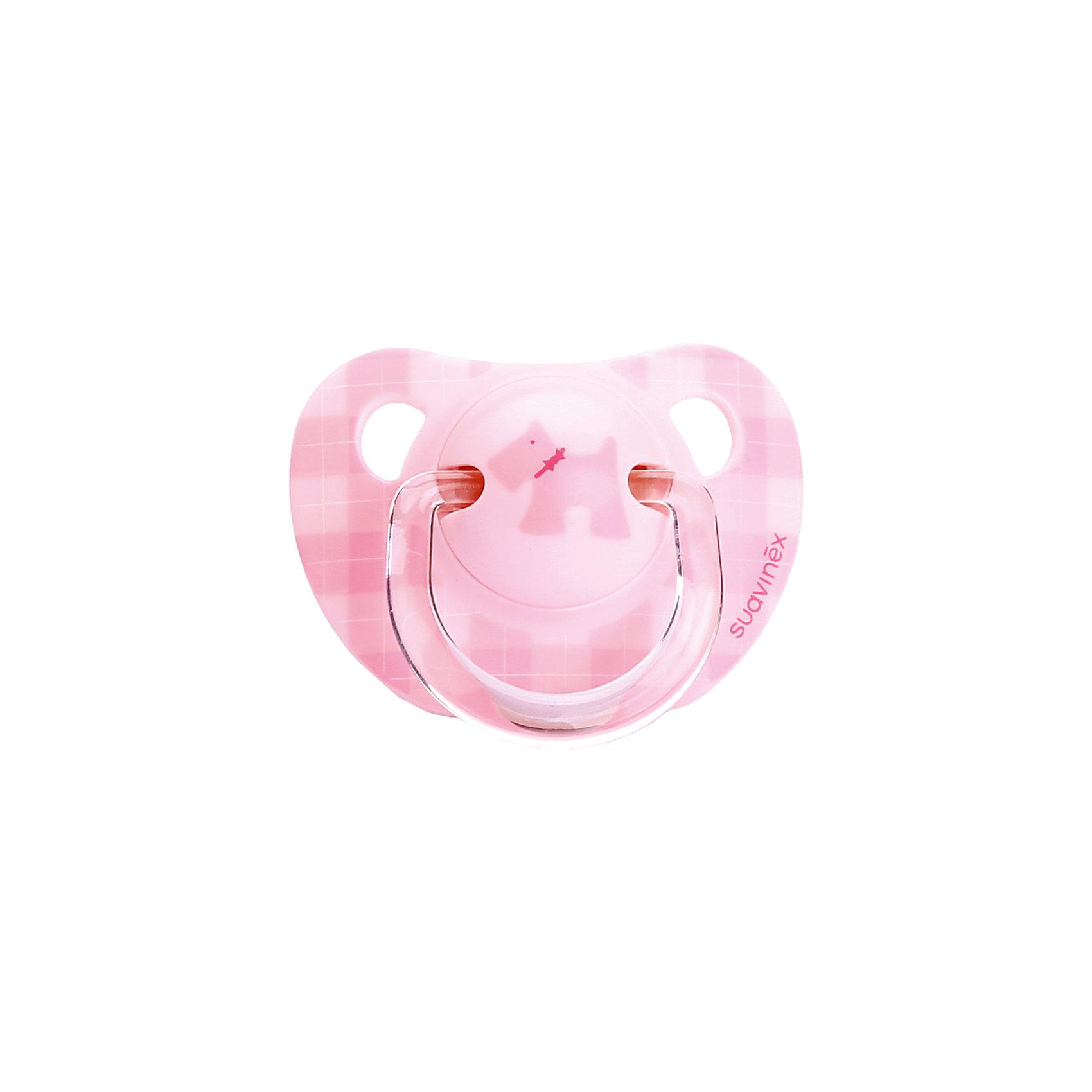 Пустышка силиконовая SCOTTISH, 0-6 мес., Suavinex, розовыйПустышки<br>Характеристики:<br><br>• Наименование: пустышка<br>• Рекомендуемый возраст: от 0 до 6 месяцев<br>• Пол: для девочки<br>• Материал: силикон, пластик<br>• Цвет: оттенки розового<br>• Рисунок: собака<br>• Форма: анатомическая<br>• Наличие вентиляционных отверстий <br>• Кольцо для держателя<br>• Вес: 30 г<br>• Параметры (Д*Ш*В): 5,4*6,5*10,9 см <br>• Особенности ухода: можно мыть в теплой воде, регулярная стерилизация <br><br>Пустышка SCOTTISH от 0 до 6 мес., Suavinex, розовый/розовая собачка изготовлена испанским торговым брендом, специализирующимся на выпуске товаров для кормления и аксессуаров новорожденным и младенцам. Продукция от Suavinex разработана с учетом рекомендаций педиатров и стоматологов, что гарантирует качество и безопасность использованных материалов. <br><br>Пластик, из которого изготовлено изделие, устойчив к появлению царапин и сколов, благодаря чему пустышка длительное время сохраняет свои гигиенические свойства. Форма у соски способствует равномерному распределению давления на небо, что обеспечивает правильное формирование речевого аппарата. <br><br>Пустышка имеет классическую форму, для прикрепления держателя предусмотрено кольцо. Изделие выполнено в брендовом дизайне, с изображением собачки. Рисунок с эффектом позолоты нанесен по инновационной технологии, которая обеспечивает стойкость рисунка даже при длительном использовании и частой стерилизации.<br><br>Пустышку SCOTTISH от 0 до 6 мес., Suavinex, розовый/розовая собачка можно купить в нашем интернет-магазине.<br><br>Ширина мм: 54<br>Глубина мм: 65<br>Высота мм: 109<br>Вес г: 30<br>Возраст от месяцев: 0<br>Возраст до месяцев: 6<br>Пол: Женский<br>Возраст: Детский<br>SKU: 5451302