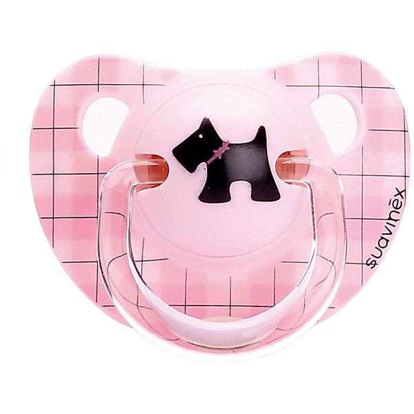 Пустышка силиконовая SCOTTISH, 0-6 мес., Suavinex, розовыйПустышки<br>Характеристики:<br><br>• Наименование: пустышка<br>• Рекомендуемый возраст: от 0 до 6 месяцев<br>• Пол: для девочки<br>• Материал: силикон, пластик<br>• Цвет: оттенки розового, черный, коричневый<br>• Рисунок: собака, клетка<br>• Форма: анатомическая<br>• Комплектация: 2 пустышки<br>• Наличие вентиляционных отверстий <br>• Кольцо для держателя<br>• Вес: 40 г<br>• Параметры (Д*Ш*В): 5,4*6,5*14,1 см <br>• Особенности ухода: можно мыть в теплой воде, регулярная стерилизация <br><br>Пустышка SCOTTISH от 0 до 6 мес., Suavinex, розовый/черная собачка изготовлена испанским торговым брендом, специализирующимся на выпуске товаров для кормления и аксессуаров новорожденным и младенцам. Продукция от Suavinex разработана с учетом рекомендаций педиатров и стоматологов, что гарантирует качество и безопасность использованных материалов. <br><br>Пластик, из которого изготовлено изделие, устойчив к появлению царапин и сколов, благодаря чему пустышка длительное время сохраняет свои гигиенические свойства. Форма у соски способствует равномерному распределению давления на небо, что обеспечивает правильное формирование речевого аппарата. <br><br>Пустышка имеет классическую форму, для прикрепления держателя предусмотрено кольцо. Изделие выполнено в брендовом дизайне, с изображением собачки. Рисунок с эффектом позолоты нанесен по инновационной технологии, которая обеспечивает стойкость рисунка даже при длительном использовании и частой стерилизации.<br><br>Пустышку SCOTTISH от 0 до 6 мес., Suavinex, розовый/черная собачка можно купить в нашем интернет-магазине.<br><br>Ширина мм: 54<br>Глубина мм: 65<br>Высота мм: 141<br>Вес г: 40<br>Возраст от месяцев: 6<br>Возраст до месяцев: 24<br>Пол: Женский<br>Возраст: Детский<br>SKU: 5451304