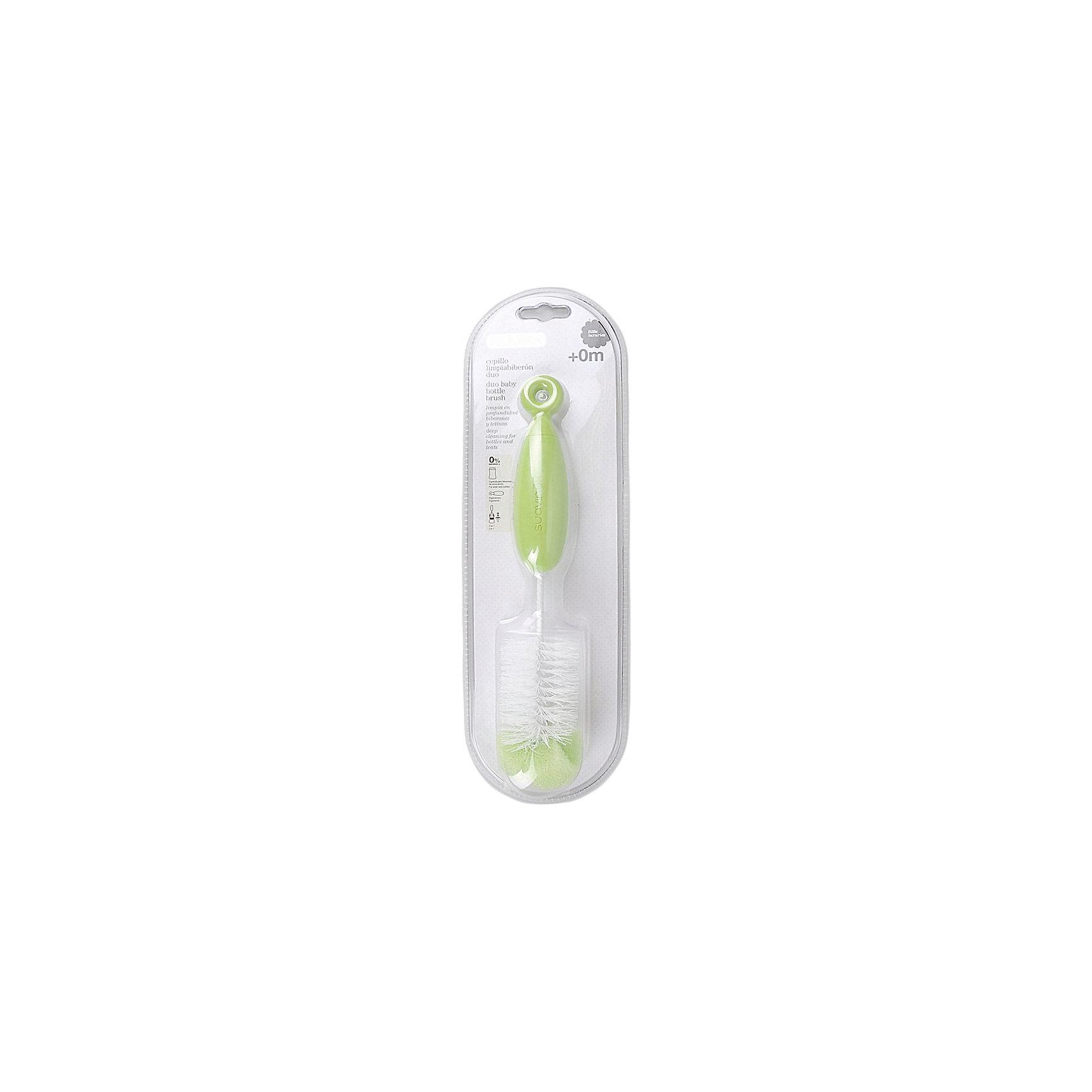 Ершик для бутылочек от 0 мес, Suavinex, зеленыйБутылочки и аксессуары<br>Характеристики:<br><br>• Наименование: ершик для мытья бутылок<br>• Материал: пластик<br>• Цвет: белый, зеленый<br>• Универсальный размер<br>• На конце ершика имеется губка <br>• Вес: 30 г<br>• Параметры (Д*Ш*В): 8*11*37 см <br>• Упаковка: блистер на картонной подложке<br><br>Ершик для бутылочек от 0 мес, Suavinex, зеленый изготовлен испанским торговым брендом, специализирующимся на выпуске товаров для кормления и аксессуаров новорожденным и младенцам. <br><br>Ершик предназначен для мытья детских бутылочек и сосок. Изготовлен из экологически безопасных материалов. Щетина у ершика густая и имеет среднюю степеь жесткости, что обеспечивает легкое удаление даже засохших загрязнений. <br><br>На конце ершика предусмотрена губка, которая обеспечивает тщательное очищение, при этом не царапая стенки бутылочки. У изделия имеется удобная эргономичная ручка и кольцо для его подвешивания. Ершик достаточно легко очищается от загрязнений, его можно обрабатывать кипятком. Имеет универсальный размер, подходящий для любых бутылочек.<br><br>Ершик для бутылочек от 0 мес, Suavinex, зеленый можно купить в нашем интернет-магазине.<br><br>Ширина мм: 80<br>Глубина мм: 110<br>Высота мм: 370<br>Вес г: 30<br>Возраст от месяцев: 0<br>Возраст до месяцев: 24<br>Пол: Унисекс<br>Возраст: Детский<br>SKU: 5451307