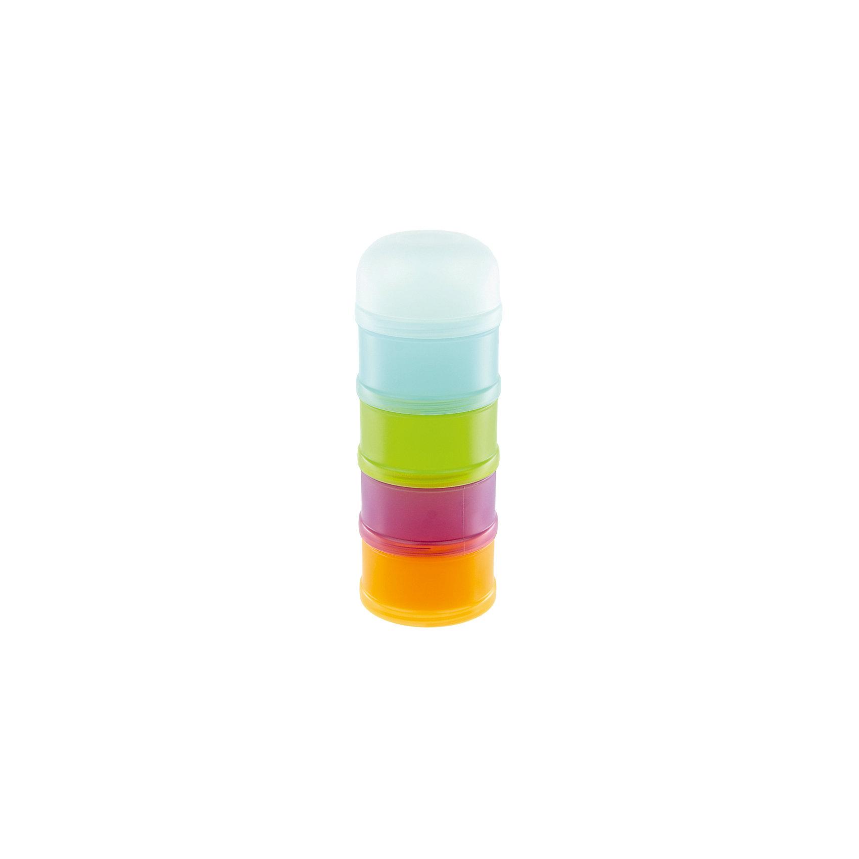 Контейнер-дозатор для молока от 0 мес., SuavinexХарактеристики:<br><br>• Наименование: контейнер-дозатор для молока<br>• Материал: пластик<br>• Пол: универсальный<br>• Цвет: оранжевый, зеленый, бирюзовый, фиолетовый<br>• Комплектация: 4 съемных отсека, крышка с носиком, колпачок<br>• Вес: 128 г<br>• Параметры (Д*Ш*В): 7,7*7,7*20 см <br>• Особенности ухода: разрешается мыть в горячей мыльной воде, допускается стерилизация<br><br>Контейнер-дозатор для молока от 0 мес., Suavinex изготовлен испанским торговым брендом, специализирующимся на выпуске товаров для кормления и аксессуаров новорожденным и младенцам. Изделие предназначено для организации питания младенца в поездках и путешествиях. <br><br>Контейнер изготовлен из экологически безопасного пластика, который устойчив к повреждениям и появлению царапин. У изделия имеется четыре съемных независимых друг от друга отсека, предназначенных для хранения сухих смесей или каш. <br><br>Для удобства пересыпания предусмотрен носик-адаптер, при помощи которого смесь без особого труда можно пересыпать в бутылочку. У контейнера предусмотрен закручивающаяся крышка, что обеспечивает не только герметичность хранения, но и защищает от просыпания смеси. Контейнер-дозатор достаточно прост в уходе: его можно мыть в горячей мыльной воде и стерилизовать.<br><br>Контейнер для пустышки от 0 мес, Suavinex, светло-зеленый можно купить в нашем интернет-магазине.<br><br>Ширина мм: 77<br>Глубина мм: 77<br>Высота мм: 200<br>Вес г: 128<br>Возраст от месяцев: 0<br>Возраст до месяцев: 24<br>Пол: Унисекс<br>Возраст: Детский<br>SKU: 5451313