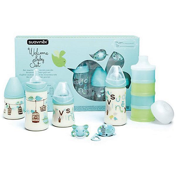 Набор для кормления (7предметов) до 4 мес., Suavinex, голубойБутылочки и аксессуары<br>Характеристики:<br><br>• Наименование: набор для кормления<br>• Рекомендуемый возраст: от 0 до 4 месяцев<br>• Пол: для мальчика<br>• Комплектация: <br> бутылки 270 мл – 2 шт.<br> бутылки 150 мл – 2 шт.<br> пустышка силиконовая – 1 шт.<br> держатель для пустышки – 1 шт.<br> дозатор для смеси – 1 шт. (из 4-х отсеков)<br>• Материал: силикон, пластик<br>• Цвет: голубой<br>• Рисунок: птички<br>• Форма сосок: круглая<br>• Поток у сосок: медленный<br>• Наличие антиколикового клапана<br>• Горлышко бутылки адаптировано под любую форму соски данного производителя<br>• Вес: 255 г<br>• Параметры (Д*Ш*В): 40*7*25 см <br>• Особенности ухода: регулярная стерилизация и своевременная замена<br><br>Набор для кормления (7 предметов) до 4 мес., Suavinex, голубой изготовлен испанским торговым брендом, специализирующимся на выпуске товаров для кормления новорожденных и младенцев. Продукция от Suavinex разработана с учетом рекомендаций педиатров и стоматологов, что гарантирует не только качество и безопасность использованных материалов, но и обеспечивает правильное формирование неба. <br><br>Набор состоит из четырех бутылочек, контейнера для смеси, пустышки и держателя для нее. Бутылочки выполнены с широкими горлышками, что облегчает уход за ними. Силиконовые соски круглой формы длительное время сохраняют свои свойства: не рассасываются и не слипаются во время кормления. У пустышки физиологическая форма. Контейнер для смеси состоит из четырех независимых отсеков. <br><br>Набор для кормления (7 предметов) до 4 мес., Suavinex, голубой выполнен в брендовом дизайне с изображением птичек. Рисунок устойчив к появлениям царапин и выгоранию цвета даже при частой стерилизации. Набор для кормления (7 предметов) до 4 мес., Suavinex, голубой станет непревзойденным и полезным подарком для новорожденного и его родителей.<br><br>Набор для кормления (7 предметов) до 4 мес., Suavinex, голубой можно купить в нашем интерн