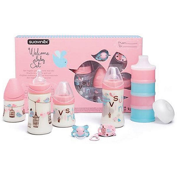 Набор  для кормления (7предметов) до 4 мес., Suavinex, розовыйБутылочки и аксессуары<br>Характеристики:<br><br>• Наименование: набор для кормления<br>• Рекомендуемый возраст: от 0 до 4 месяцев<br>• Пол: для девочки<br>• Комплектация: <br> бутылки 270 мл – 2 шт.<br> бутылки 150 мл – 2 шт.<br> пустышка силиконовая – 1 шт.<br> держатель для пустышки – 1 шт.<br> дозатор для смеси – 1 шт. (из 4-х отсеков)<br>• Материал: силикон, пластик<br>• Цвет: розовый<br>• Рисунок: птички<br>• Форма сосок: круглая<br>• Поток у сосок: медленный<br>• Наличие антиколикового клапана<br>• Горлышко бутылки адаптировано под любую форму соски данного производителя<br>• Вес: 255 г<br>• Параметры (Д*Ш*В): 40*7*25 см <br>• Особенности ухода: регулярная стерилизация и своевременная замена<br><br>Набор для кормления (7 предметов) до 4 мес., Suavinex, розовый изготовлен испанским торговым брендом, специализирующимся на выпуске товаров для кормления новорожденных и младенцев. Продукция от Suavinex разработана с учетом рекомендаций педиатров и стоматологов, что гарантирует не только качество и безопасность использованных материалов, но и обеспечивает правильное формирование неба. <br><br>Набор состоит из четырех бутылочек, контейнера для смеси, пустышки и держателя для нее. Бутылочки выполнены с широкими горлышками, что облегчает уход за ними. Силиконовые соски круглой формы длительное время сохраняют свои свойства: не рассасываются и не слипаются во время кормления. У пустышки физиологическая форма. Контейнер для смеси состоит из четырех независимых отсеков. <br><br>Набор для кормления (7 предметов) до 4 мес., Suavinex, розовый выполнен в брендовом дизайне с изображением птичек. Рисунок устойчив к появлениям царапин и выгоранию цвета даже при частой стерилизации. Набор для кормления (7 предметов) до 4 мес., Suavinex, розовый станет непревзойденным и полезным подарком для новорожденного и его родителей.<br><br>Набор для кормления (7 предметов) до 4 мес., Suavinex, розовый можно купить в нашем интерн