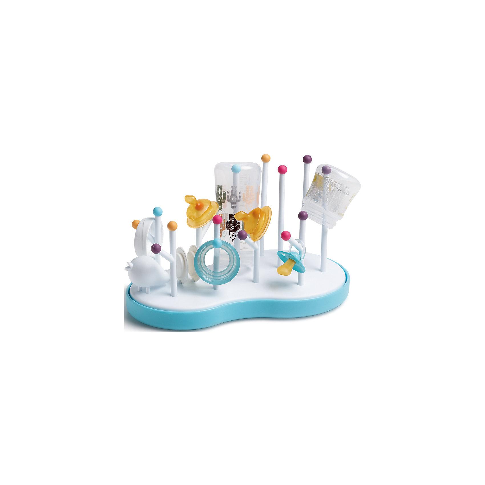 Подставка для сушки бутылок/сосок, SuavinexХарактеристики:<br><br>• Наименование: подставка для сушки<br>• Материал: пластик<br>• Пол: универсальный<br>• Цвет: белый, голубой, оранжевый, розовый<br>• Рисунок: птички<br>• Можно использовать в посудомоечной машине<br>• Вес: 400 г<br>• Параметры (Д*Ш*В): 8*35*22 см <br>• Особенности ухода: сухая и влажная чистка<br><br>Подставка для сушки бутылок/сосок, Suavinex изготовлена испанским торговым брендом, специализирующимся на выпуске товаров для кормления и аксессуаров новорожденным и младенцам. Изделие выполнено из экологически безопасного пластика, устойчивого к повреждениям и появлению царапин. <br><br>Конструкция подставки имеет изогнутую поверхность, что препятствует сбору воды, на подставке предусмотрены держатели разной высоты: для бутылочек, сосок и других аксессуаров. Подставка для сушки бутылок/сосок, Suavinex имеет брендовый дизайн: яркие защитные шарики на концах держателей и фигурка птички делают его ярким и стильным кухонным аксессуаром.<br><br>Подставку для сушки бутылок/сосок, Suavinex можно купить в нашем интернет-магазине.<br><br>Ширина мм: 80<br>Глубина мм: 350<br>Высота мм: 220<br>Вес г: 400<br>Возраст от месяцев: 0<br>Возраст до месяцев: 24<br>Пол: Унисекс<br>Возраст: Детский<br>SKU: 5451324