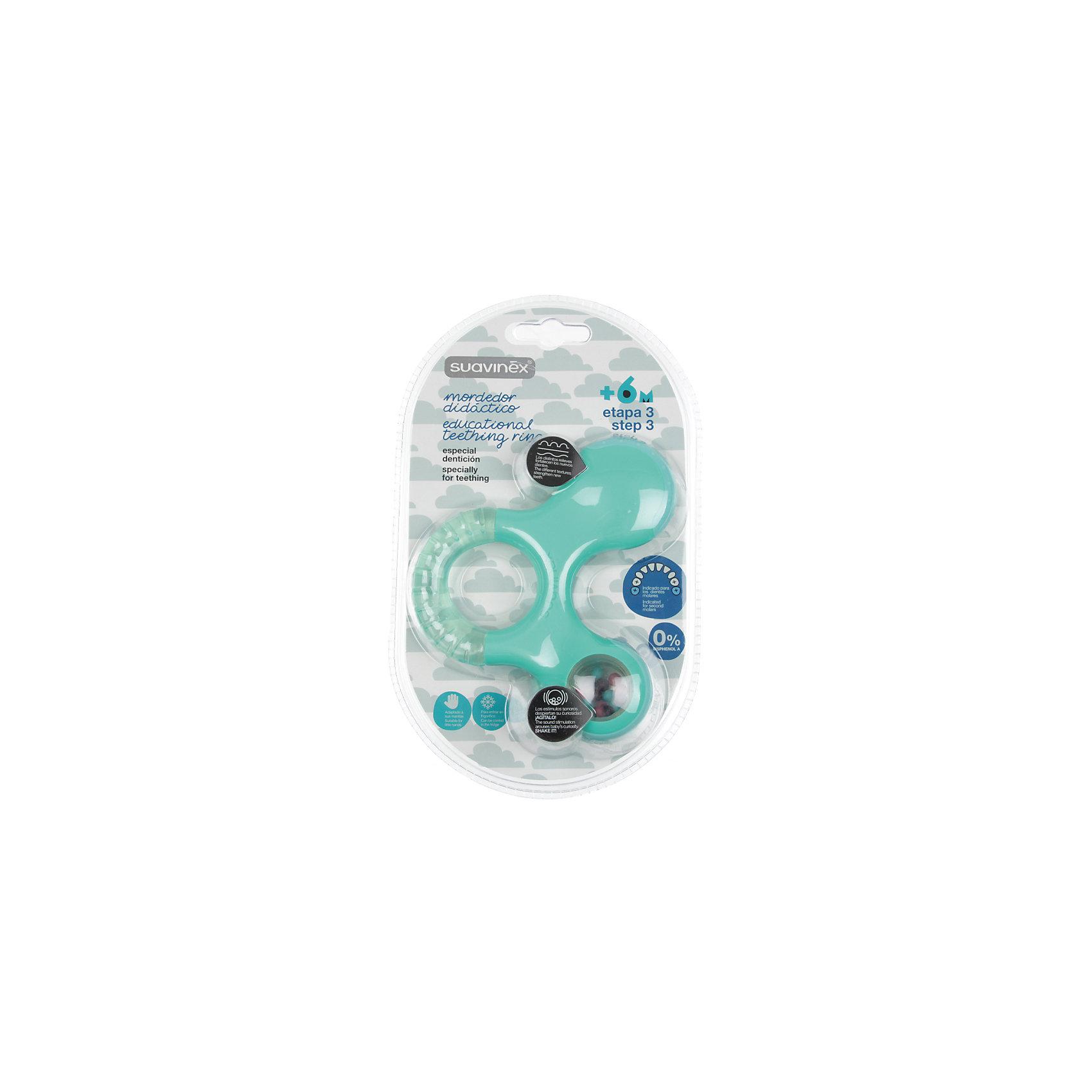 Прорезыватель-игрушка от 6мес. шаг 3, Suavinex, зеленыйПрорезыватели<br>Характеристики:<br><br>• Наименование: прорезыватель<br>• Рекомендуемый возраст: от 6 месяцев<br>• Пол: универсальный<br>• Материал: пластик, дистиллированная вода<br>• Цвет: зеленый<br>• Рисунок: без рисунка<br>• Наличие выпуклых элементов<br>• Эргономичная форма<br>• Отсутствие острых углов<br>• С эффектом охлаждения<br>• Эффект погремушки<br>• Вес: 114 г<br>• Параметры (Д*Ш*В): 11,6*3,6*13,6 см <br>• Особенности ухода: можно мыть в теплой воде<br><br>Прорезыватель-игрушка от 6 мес. шаг 3, Suavinex, зеленый изготовлен испанским торговым брендом, специализирующимся на выпуске товаров для кормления и аксессуаров новорожденным и младенцам. Продукция от Suavinex разработана с учетом рекомендаций педиатров и стоматологов, что гарантирует качество и безопасность использованных материалов. <br><br>Пластик, из которого изготовлено изделие, устойчив к появлению царапин от острых детских зубов, благодаря чему игрушка длительное время сохраняет свои гигиенические свойства. Прорезыватель выполнен в эргономичной форме, имеет легкий вес, что позволяет малышу не только удобно держать его в ручке, но и отрабатывать навык захвата игрушки. <br><br>Прорезыватель имеет трехстороннюю форму: один край выполнен с наполненной дистиллированной водой, которую можно охлаждать, второй – из пластика с выпуклыми элементами, а третий – с шариками в прозрачном окошке. Конструкция игрушки обеспечивает не только мягкий нетравмирующий массаж десен, но и развивает мелкую моторику рук, звуковое и цветовое восприятие. Прорезыватель выполнен в брендовом дизайне.<br><br>Прорезыватель-игрушка от 6 мес. шаг 3, Suavinex, зеленый можно купить в нашем интернет-магазине.<br><br>Ширина мм: 116<br>Глубина мм: 36<br>Высота мм: 136<br>Вес г: 114<br>Возраст от месяцев: 6<br>Возраст до месяцев: 24<br>Пол: Унисекс<br>Возраст: Детский<br>SKU: 5451329