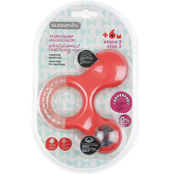Прорезыватель-игрушка от 6мес. шаг 3, Suavinex, оранжевыйПустышки<br>Характеристики:<br><br>• Наименование: прорезыватель<br>• Рекомендуемый возраст: от 6 месяцев<br>• Пол: универсальный<br>• Материал: пластик, дистиллированная вода<br>• Цвет: оранжевый<br>• Рисунок: без рисунка<br>• Наличие выпуклых элементов<br>• Эргономичная форма<br>• Отсутствие острых углов<br>• С эффектом охлаждения<br>• Эффект погремушки<br>• Вес: 114 г<br>• Параметры (Д*Ш*В): 11,6*3,6*13,6 см <br>• Особенности ухода: можно мыть в теплой воде<br><br>Прорезыватель-игрушка от 6 мес. шаг 3, Suavinex, оранжевый изготовлен испанским торговым брендом, специализирующимся на выпуске товаров для кормления и аксессуаров новорожденным и младенцам. Продукция от Suavinex разработана с учетом рекомендаций педиатров и стоматологов, что гарантирует качество и безопасность использованных материалов. <br><br>Пластик, из которого изготовлено изделие, устойчив к появлению царапин от острых детских зубов, благодаря чему игрушка длительное время сохраняет свои гигиенические свойства. Прорезыватель выполнен в эргономичной форме, имеет легкий вес, что позволяет малышу не только удобно держать его в ручке, но и отрабатывать навык захвата игрушки. <br><br>Прорезыватель имеет трехстороннюю форму: один край выполнен с наполненной дистиллированной водой, которую можно охлаждать, второй – из пластика с выпуклыми элементами, а третий – с шариками в прозрачном окошке. Конструкция игрушки обеспечивает не только мягкий нетравмирующий массаж десен, но и развивает мелкую моторику рук, звуковое и цветовое восприятие. Прорезыватель выполнен в брендовом дизайне.<br><br>Прорезыватель-игрушка от 6 мес. шаг 3, Suavinex, оранжевый можно купить в нашем интернет-магазине.<br><br>Ширина мм: 116<br>Глубина мм: 36<br>Высота мм: 136<br>Вес г: 114<br>Возраст от месяцев: 6<br>Возраст до месяцев: 24<br>Пол: Унисекс<br>Возраст: Детский<br>SKU: 5451330