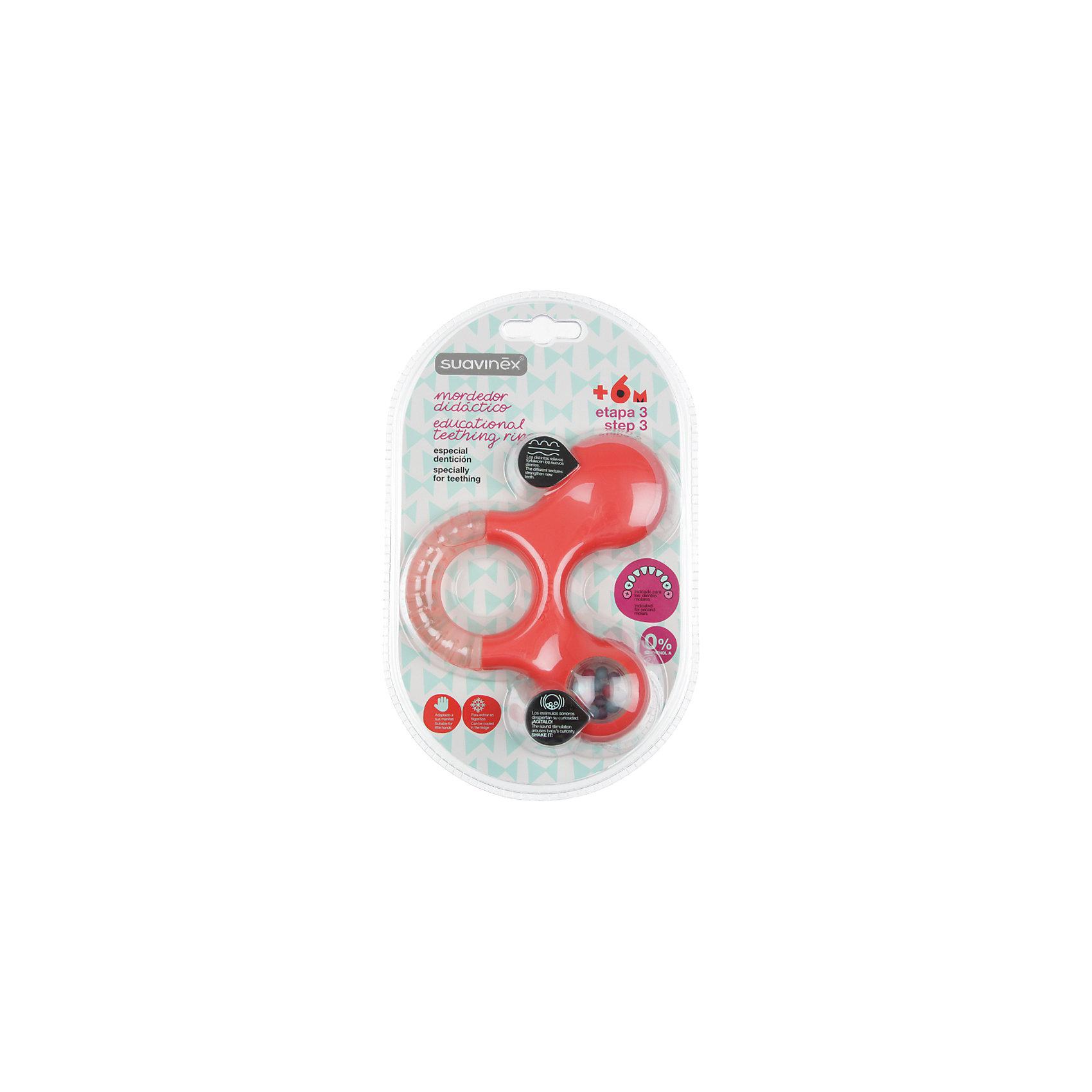 Прорезыватель-игрушка от 6мес. шаг 3, Suavinex, оранжевыйПрорезыватели<br>Характеристики:<br><br>• Наименование: прорезыватель<br>• Рекомендуемый возраст: от 6 месяцев<br>• Пол: универсальный<br>• Материал: пластик, дистиллированная вода<br>• Цвет: оранжевый<br>• Рисунок: без рисунка<br>• Наличие выпуклых элементов<br>• Эргономичная форма<br>• Отсутствие острых углов<br>• С эффектом охлаждения<br>• Эффект погремушки<br>• Вес: 114 г<br>• Параметры (Д*Ш*В): 11,6*3,6*13,6 см <br>• Особенности ухода: можно мыть в теплой воде<br><br>Прорезыватель-игрушка от 6 мес. шаг 3, Suavinex, оранжевый изготовлен испанским торговым брендом, специализирующимся на выпуске товаров для кормления и аксессуаров новорожденным и младенцам. Продукция от Suavinex разработана с учетом рекомендаций педиатров и стоматологов, что гарантирует качество и безопасность использованных материалов. <br><br>Пластик, из которого изготовлено изделие, устойчив к появлению царапин от острых детских зубов, благодаря чему игрушка длительное время сохраняет свои гигиенические свойства. Прорезыватель выполнен в эргономичной форме, имеет легкий вес, что позволяет малышу не только удобно держать его в ручке, но и отрабатывать навык захвата игрушки. <br><br>Прорезыватель имеет трехстороннюю форму: один край выполнен с наполненной дистиллированной водой, которую можно охлаждать, второй – из пластика с выпуклыми элементами, а третий – с шариками в прозрачном окошке. Конструкция игрушки обеспечивает не только мягкий нетравмирующий массаж десен, но и развивает мелкую моторику рук, звуковое и цветовое восприятие. Прорезыватель выполнен в брендовом дизайне.<br><br>Прорезыватель-игрушка от 6 мес. шаг 3, Suavinex, оранжевый можно купить в нашем интернет-магазине.<br><br>Ширина мм: 116<br>Глубина мм: 36<br>Высота мм: 136<br>Вес г: 114<br>Возраст от месяцев: 6<br>Возраст до месяцев: 24<br>Пол: Унисекс<br>Возраст: Детский<br>SKU: 5451330