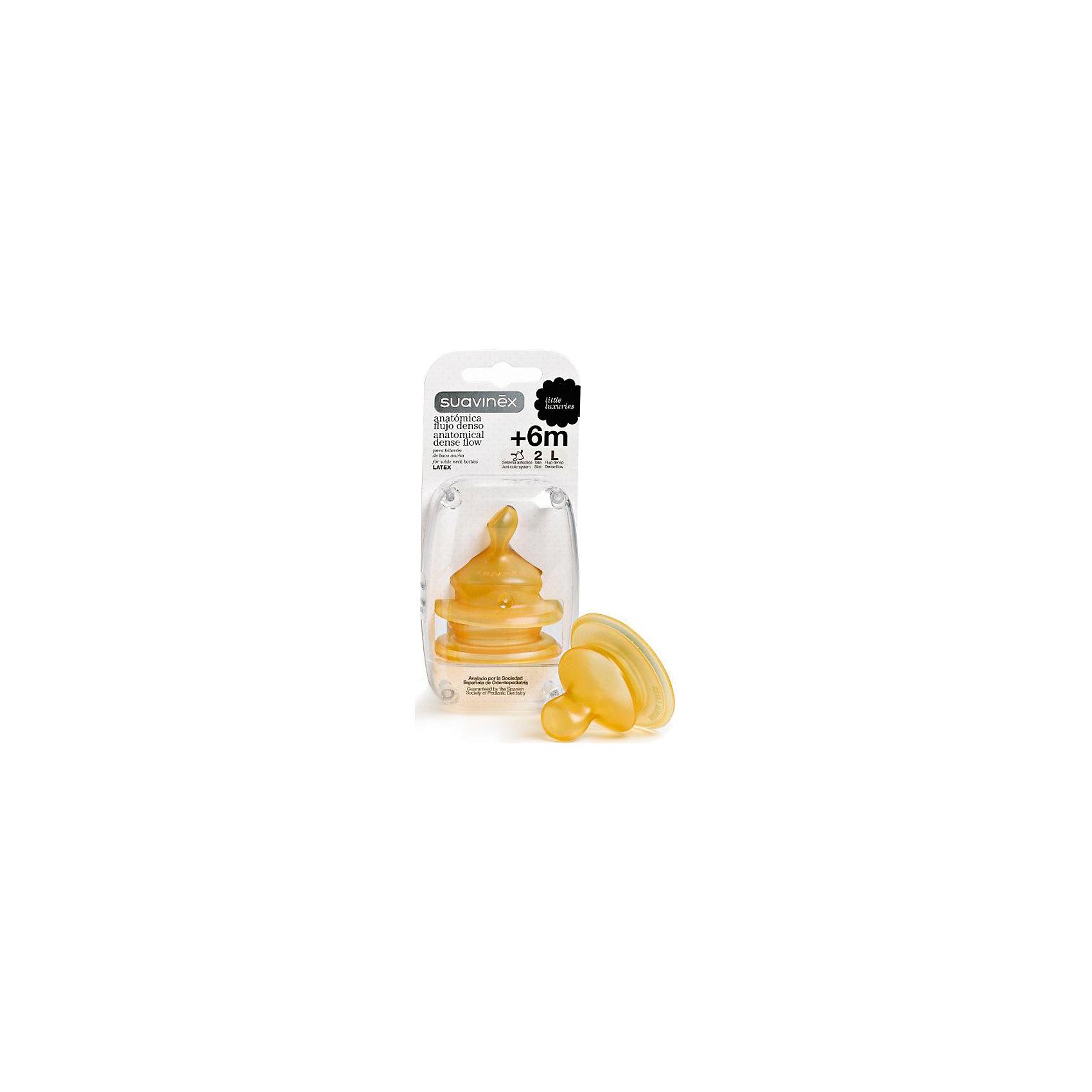 Соска латексная размер L от 6мес, 2шт., SuavinexБутылочки и аксессуары<br>Характеристики:<br><br>• Наименование: соска для кормления<br>• Рекомендуемый возраст: от 6 месяцев<br>• Размер: L <br>• Материал: латекс<br>• Форма: анатомическая<br>• Поток: медленный<br>• Комплектация: 2 соски<br>• Подходит для всех бутылочек производителя Suavinex<br>• Вес: 45 г<br>• Параметры (Д*Ш*В): 6,5*6*14 см <br>• Особенности ухода: можно мыть в теплой воде, регулярная стерилизация <br><br>Соска латексная размер L от 6 мес, 2 шт., Suavinex изготовлена испанским торговым брендом, специализирующимся на выпуске товаров для кормления и аксессуаров новорожденным и младенцам. Продукция от Suavinex разработана с учетом рекомендаций педиатров и стоматологов, что гарантирует качество и безопасность использованных материалов. <br><br>Латекс, из которого изготовлена соска, длительное время сохраняет свои свойства. Анатомическая форма у соски способствует равномерному распределению давления на небо, что обеспечивает правильное формирование речевого аппарата и профилактику логопедических проблем в будущем. Изделие предназначено для молочных смесей и воды. <br><br>Соску латексную размер L от 6 мес, 2 шт., Suavinex можно купить в нашем интернет-магазине.<br><br>Ширина мм: 65<br>Глубина мм: 60<br>Высота мм: 140<br>Вес г: 45<br>Возраст от месяцев: 6<br>Возраст до месяцев: 24<br>Пол: Унисекс<br>Возраст: Детский<br>SKU: 5451333