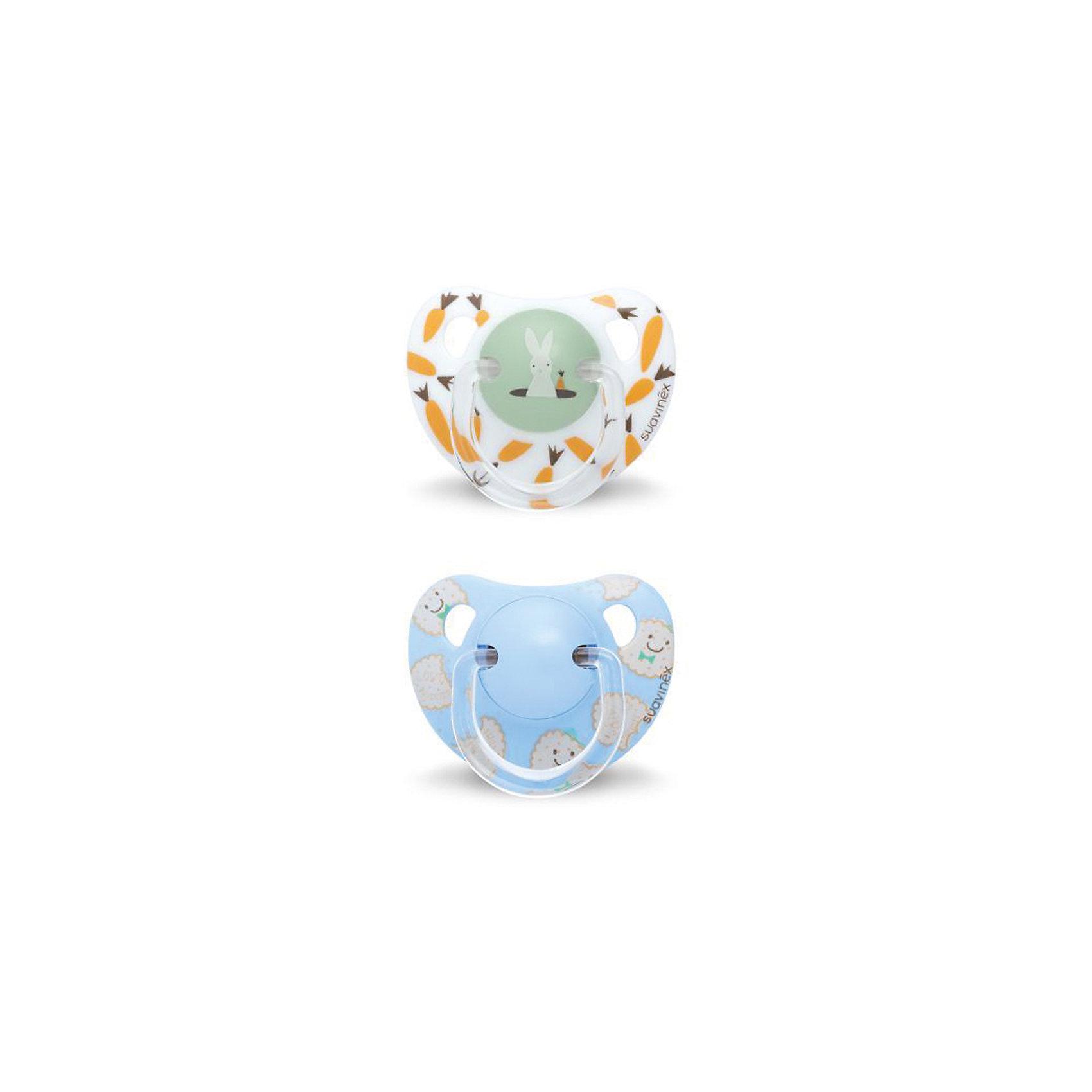 Набор пустышек от 12 мес. ,2 шт, сликон, Suavinex, оранжевый кролик/синий печеньеПустышки и аксессуары<br>Характеристики:<br><br>• Наименование: пустышка<br>• Рекомендуемый возраст: от 12 месяцев<br>• Пол: универсальный<br>• Материал: силикон, пластик<br>• Цвет: белый, зеленый, оранжевый, синий, бежевый<br>• Рисунок: кролик, печенье<br>• Форма: анатомическая<br>• Комплектация: 2 пустышки с разными рисунками<br>• Наличие вентиляционных отверстий <br>• Кольцо для держателя<br>• Вес: 40 г<br>• Параметры (Д*Ш*В): 5,4*6,5*14,1 см <br>• Особенности ухода: можно мыть в теплой воде, регулярная стерилизация <br><br>Набор пустышек от 12 мес. , 2 шт, сликон, Suavinex, оранжевый кролик/синий печенье изготовлен испанским торговым брендом, специализирующимся на выпуске товаров для кормления и аксессуаров новорожденным и младенцам. Продукция от Suavinex разработана с учетом рекомендаций педиатров и стоматологов, что гарантирует качество и безопасность использованных материалов. <br><br>Пластик, из которого изготовлены изделия, устойчив к появлению царапин и сколов, благодаря чему пустышки длительное время сохраняют свои гигиенические свойства. Форма у сосок способствует равномерному распределению давления на небо, что обеспечивает правильное формирование речевого аппарата. <br><br>Пустышки имеют классическую форму, для прикрепления держателя предусмотрено кольцо. Изделия выполнены в брендовом дизайне. Рисунки нанесены по инновационной технологии, которая обеспечивает стойкость рисунка даже при длительном использовании и частой стерилизации.<br><br>Набор пустышек от 12 мес. , 2 шт, сликон, Suavinex, оранжевый кролик/синий печенье можно купить в нашем интернет-магазине.<br><br>Ширина мм: 54<br>Глубина мм: 65<br>Высота мм: 141<br>Вес г: 40<br>Возраст от месяцев: 12<br>Возраст до месяцев: 24<br>Пол: Унисекс<br>Возраст: Детский<br>SKU: 5451352