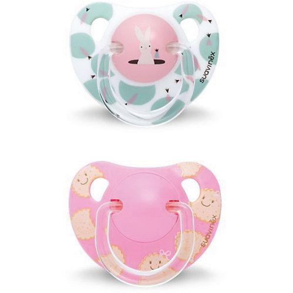 Набор пустышек от 12 мес. ,2 шт, сликон, Suavinex, белый кролик/розовый печеньеПустышки<br>Характеристики:<br><br>• Наименование: пустышка<br>• Рекомендуемый возраст: от 12 месяцев<br>• Пол: для девочки<br>• Материал: силикон, пластик<br>• Цвет: белый, розовый, бежевый<br>• Рисунок: кролик, печенье<br>• Форма: анатомическая<br>• Комплектация: 2 пустышки с разными рисунками<br>• Наличие вентиляционных отверстий <br>• Кольцо для держателя<br>• Вес: 40 г<br>• Параметры (Д*Ш*В): 5,4*6,5*14,1 см <br>• Особенности ухода: можно мыть в теплой воде, регулярная стерилизация <br><br>Набор пустышек от 12 мес. , 2 шт, сликон, Suavinex, белый кролик/розовое печенье изготовлен испанским торговым брендом, специализирующимся на выпуске товаров для кормления и аксессуаров новорожденным и младенцам. Продукция от Suavinex разработана с учетом рекомендаций педиатров и стоматологов, что гарантирует качество и безопасность использованных материалов. <br><br>Пластик, из которого изготовлены изделия, устойчив к появлению царапин и сколов, благодаря чему пустышки длительное время сохраняют свои гигиенические свойства. Форма у сосок способствует равномерному распределению давления на небо, что обеспечивает правильное формирование речевого аппарата. <br><br>Пустышки имеют анатомическую форму, для прикрепления держателя предусмотрено кольцо. Изделия выполнены в брендовом дизайне. Рисунки нанесены по инновационной технологии, которая обеспечивает стойкость рисунка даже при длительном использовании и частой стерилизации.<br><br>Набор пустышек от 12 мес. , 2 шт, сликон, Suavinex, белый кролик/розовое печенье можно купить в нашем интернет-магазине.<br><br>Ширина мм: 54<br>Глубина мм: 65<br>Высота мм: 141<br>Вес г: 40<br>Возраст от месяцев: 12<br>Возраст до месяцев: 24<br>Пол: Женский<br>Возраст: Детский<br>SKU: 5451353