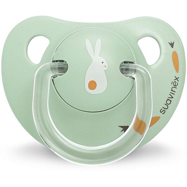 Пустышка силиконовая, 0-6 мес, Suavinex, зеленый кроликПустышки<br>Характеристики:<br><br>• Наименование: пустышка<br>• Рекомендуемый возраст: от 0 до 6 месяцев<br>• Пол: универсальный<br>• Материал: силикон, пластик<br>• Цвет: зеленый, белый, оранжевый<br>• Рисунок: кролик<br>• Форма: анатомическая<br>• Наличие вентиляционных отверстий <br>• Кольцо для держателя<br>• Вес: 27 г<br>• Параметры (Д*Ш*В): 5,4*6,5*10,9 см <br>• Особенности ухода: можно мыть в теплой воде, регулярная стерилизация <br><br>Пустышка силиконовая 0-6 мес, Suavinex, зеленый кролик изготовлена испанским торговым брендом, специализирующимся на выпуске товаров для кормления и аксессуаров новорожденным и младенцам. Продукция от Suavinex разработана с учетом рекомендаций педиатров и стоматологов, что гарантирует качество и безопасность использованных материалов. <br><br>Пластик, из которого изготовлено изделие, устойчив к появлению царапин и сколов, благодаря чему пустышка длительное время сохраняет свои гигиенические свойства. Форма у соски способствует равномерному распределению давления на небо, что обеспечивает правильное формирование речевого аппарата. <br><br>Пустышка имеет анатомическую форму, для прикрепления держателя предусмотрено кольцо. Изделие выполнено в брендовом дизайне, с изображением кролика. Рисунок нанесен по инновационной технологии, которая обеспечивает его стойкость даже при длительном использовании и частой стерилизации.<br><br>Пустышку силиконовую 0-6 мес, Suavinex, зеленый кролик можно купить в нашем интернет-магазине.<br><br>Ширина мм: 54<br>Глубина мм: 65<br>Высота мм: 109<br>Вес г: 27<br>Возраст от месяцев: 0<br>Возраст до месяцев: 6<br>Пол: Унисекс<br>Возраст: Детский<br>SKU: 5451356