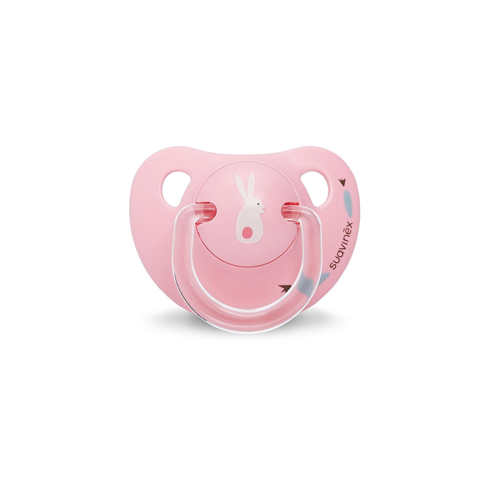 Пустышка силиконовая, 0-6 мес, Suavinex, розововый кроликПустышки и аксессуары<br>Характеристики:<br><br>• Наименование: пустышка<br>• Рекомендуемый возраст: от 0 до 6 месяцев<br>• Пол: для девочки<br>• Материал: силикон, пластик<br>• Цвет: розовый, белый<br>• Рисунок: кролик<br>• Форма: анатомическая<br>• Наличие вентиляционных отверстий <br>• Кольцо для держателя<br>• Вес: 27 г<br>• Параметры (Д*Ш*В): 5,4*6,5*10,9 см <br>• Особенности ухода: можно мыть в теплой воде, регулярная стерилизация <br><br>Пустышка силиконовая 0-6 мес, Suavinex, розовый кролик изготовлена испанским торговым брендом, специализирующимся на выпуске товаров для кормления и аксессуаров новорожденным и младенцам. Продукция от Suavinex разработана с учетом рекомендаций педиатров и стоматологов, что гарантирует качество и безопасность использованных материалов. <br><br>Пластик, из которого изготовлено изделие, устойчив к появлению царапин и сколов, благодаря чему пустышка длительное время сохраняет свои гигиенические свойства. Форма у соски способствует равномерному распределению давления на небо, что обеспечивает правильное формирование речевого аппарата. <br><br>Пустышка имеет анатомическую форму, для прикрепления держателя предусмотрено кольцо. Изделие выполнено в брендовом дизайне, с изображением кролика. Рисунок нанесен по инновационной технологии, которая обеспечивает его стойкость даже при длительном использовании и частой стерилизации.<br><br>Пустышку силиконовую 0-6 мес, Suavinex, розовый кролик можно купить в нашем интернет-магазине.<br><br>Ширина мм: 54<br>Глубина мм: 65<br>Высота мм: 109<br>Вес г: 27<br>Возраст от месяцев: 0<br>Возраст до месяцев: 6<br>Пол: Женский<br>Возраст: Детский<br>SKU: 5451358
