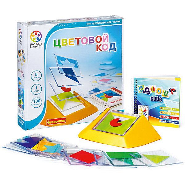 Логическая игра Цветовой код, BondibonСтратегические настольные игры<br>Логическая игра Цветовой код, Bondibon (Бондибон).<br><br>Характеристики:<br><br>• Комплектация: 18 пластиковых рамок с изображением геометрических фигур; подставка для их комбинирования; буклет со 100 заданиями, также содержащий ответы<br>• Количество игроков: 1<br>• Размер подставки: 190х105х5 мм.<br>• Размер плиток: 85х85 мм.<br>• Материал: пластик<br>• Упаковка: картонная коробка<br>• Размер упаковки: 24х4х6 см.<br><br>Эта игра – просто взрыв красок! Весь мир насыщен разнообразными цветами и сотнями их оттенков, а многие из них являются таинственным зашифрованным кодом, читать который мы учимся всю жизнь. Зеленый - цвет летней травы и листвы деревьев, желтый – цвет солнца и радости, красный – цвет тюльпанов и маминой помады. Наша игра поможет не заблудиться в цветовом разнообразии жизни! <br><br>Увлекательная игра для взрослых и детей предусматривает 100 заданий 4 уровней сложности. Нужно сложить плитки таким образом, чтобы воспроизвести композицию из карточки с выбранным заданием. При решении поставленной задачи надо правильно скомбинировать цвета, формы и последовательность расположения плиток. Правильно выполнить задание поможет внимание, логика и терпение. <br><br>Игра развивает креативность и учит искать необычные решения. Рекомендуем играть в «Цветовой код» вместе с детьми. Логические игры - прекрасный способ весело и с пользой провести свободное время с ребенком.<br><br>Логическую игру Цветовой код, Bondibon (Бондибон) можно купить в нашем интернет-магазине.<br>Ширина мм: 240; Глубина мм: 60; Высота мм: 240; Вес г: 717; Возраст от месяцев: 60; Возраст до месяцев: 2147483647; Пол: Унисекс; Возраст: Детский; SKU: 5451752;