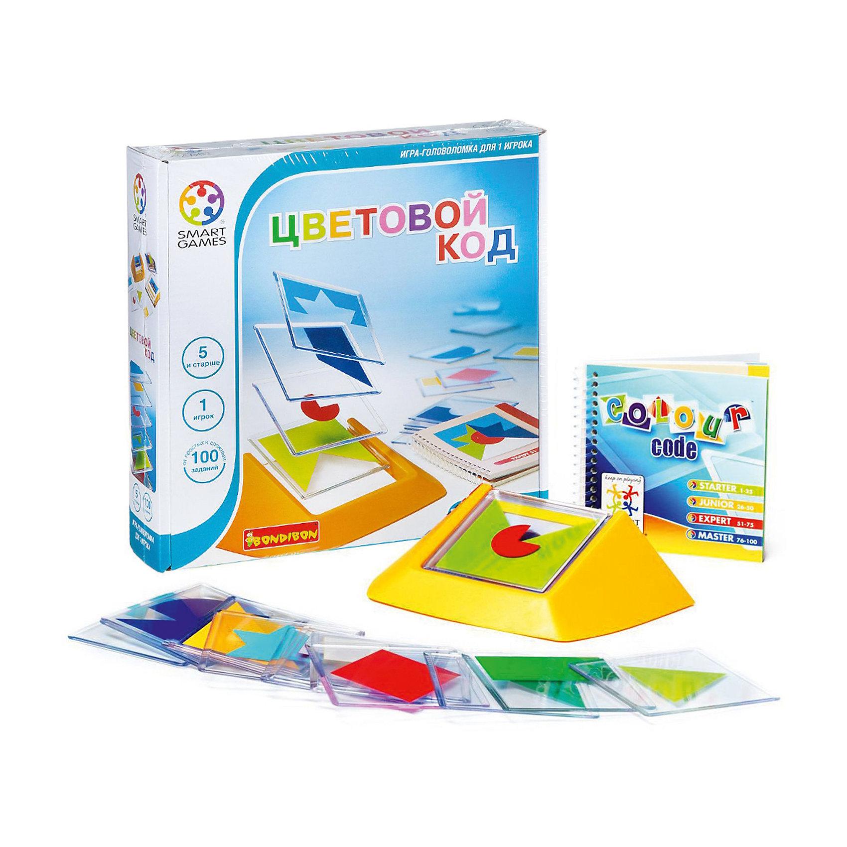 Логическая игра Цветовой код, BondibonНастольные игры<br>Логическая игра Цветовой код, Bondibon (Бондибон).<br><br>Характеристики:<br><br>• Комплектация: 18 пластиковых рамок с изображением геометрических фигур; подставка для их комбинирования; буклет со 100 заданиями, также содержащий ответы<br>• Количество игроков: 1<br>• Размер подставки: 190х105х5 мм.<br>• Размер плиток: 85х85 мм.<br>• Материал: пластик<br>• Упаковка: картонная коробка<br>• Размер упаковки: 24х4х6 см.<br><br>Эта игра – просто взрыв красок! Весь мир насыщен разнообразными цветами и сотнями их оттенков, а многие из них являются таинственным зашифрованным кодом, читать который мы учимся всю жизнь. Зеленый - цвет летней травы и листвы деревьев, желтый – цвет солнца и радости, красный – цвет тюльпанов и маминой помады. Наша игра поможет не заблудиться в цветовом разнообразии жизни! <br><br>Увлекательная игра для взрослых и детей предусматривает 100 заданий 4 уровней сложности. Нужно сложить плитки таким образом, чтобы воспроизвести композицию из карточки с выбранным заданием. При решении поставленной задачи надо правильно скомбинировать цвета, формы и последовательность расположения плиток. Правильно выполнить задание поможет внимание, логика и терпение. <br><br>Игра развивает креативность и учит искать необычные решения. Рекомендуем играть в «Цветовой код» вместе с детьми. Логические игры - прекрасный способ весело и с пользой провести свободное время с ребенком.<br><br>Логическую игру Цветовой код, Bondibon (Бондибон) можно купить в нашем интернет-магазине.<br><br>Ширина мм: 240<br>Глубина мм: 60<br>Высота мм: 240<br>Вес г: 704<br>Возраст от месяцев: 60<br>Возраст до месяцев: 2147483647<br>Пол: Унисекс<br>Возраст: Детский<br>SKU: 5451752
