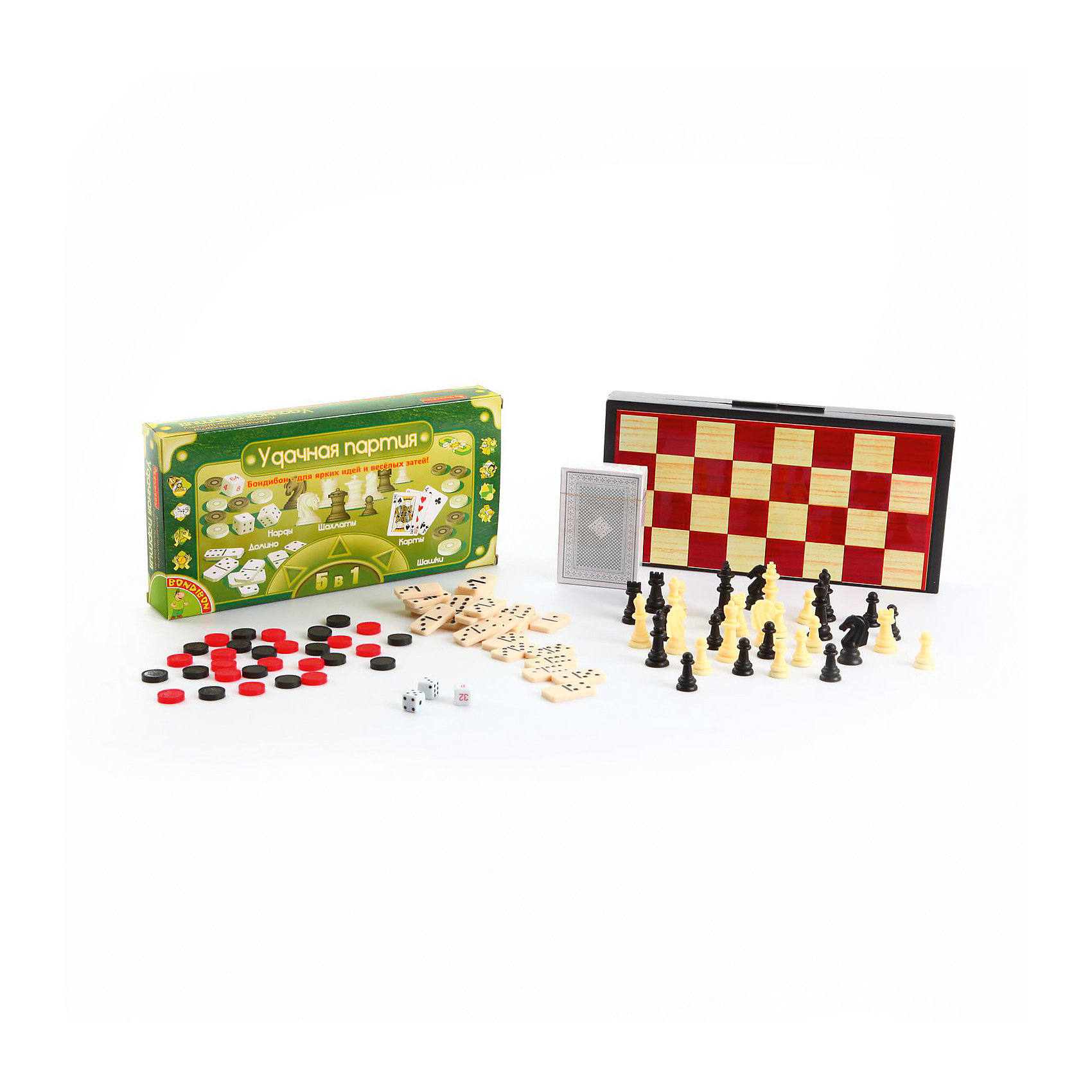 Настольная игра Удачная партия, BondibonСпортивные настольные игры<br>Настольная игра Удачная партия, Bondibon (Бондибон).<br><br>Характеристики:<br><br>• В комплекте: игровое поле, 3 кубика, 30 шашек черного и красного цвета, 32 шахматные фигуры черного и белого цвета, 54 карты, 28 костяшек, правила игр<br>• Размер игрового поля: 24,5х24,5х1,5 см.<br>• Средняя высота шахматной фигуры: 2,5 см.<br>• Диаметр шашки: 1,5 см.<br>• Размер карты: 8,5х5,7 см.<br>• Размер костяшки: 3х1,6 см.<br>• Материал: нетоксичный пластик, прочный картон, магнит, металл<br>• Упаковка: прочная картонная коробка<br>• Размер упаковки: 13х25х3,5 см.<br>• Вес: 480 гр.<br><br>Вы не знаете, как скоротать длинную дорогу в поезде, что взять с собой на пляж, чтобы не грустить? Отличный вариант – набор «Удачная партия», в котором есть сразу пять самых популярных настольных игр всех времен и народов – шахматы, шашки, нарды, карты и домино. Все необходимое для игр хранится в пластиковом кейсе, состоящем из двух частей. <br><br>Внутренняя часть представляет собой поле для игры в нарды, внешняя - поле для игры в шахматы или шашки. Для удобства шашки, фишки и шахматные фигуры изготовлены с магнитами и не потеряются на свежем воздухе или в дороге. Вечные ценности в одном комплекте, это ли не мечта интеллектуала?<br><br>Настольную игру Удачная партия, Bondibon (Бондибон) можно купить в нашем интернет-магазине.<br><br>Ширина мм: 250<br>Глубина мм: 40<br>Высота мм: 130<br>Вес г: 519<br>Возраст от месяцев: 60<br>Возраст до месяцев: 2147483647<br>Пол: Унисекс<br>Возраст: Детский<br>SKU: 5451753