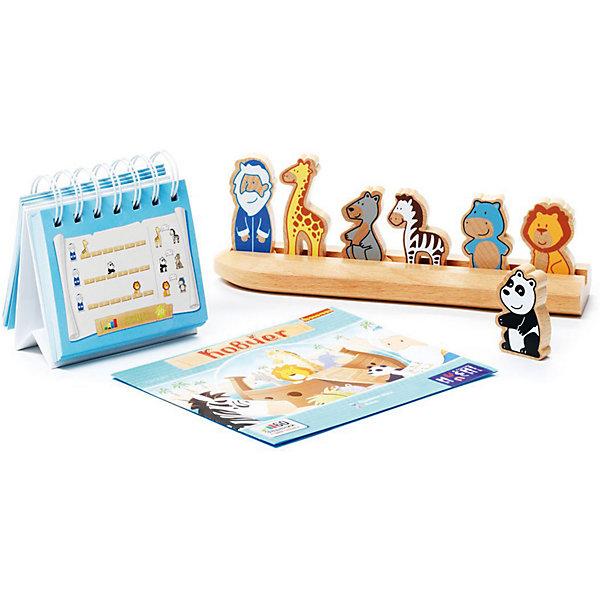 Логическая игра Ковчег, BondibonСтратегические настольные игры<br>Логическая игра Ковчег, Bondibon (Бондибон).<br><br>Характеристики:<br><br>• Возраст: от 4 лет<br>• Комплектация: буклет с 60 заданиями, деревянная подставка-ковчег, 7 деревянных фигурок (Ной, жираф, кенгуру, лев, бегемот, панда, зебра)<br>• Материал: древесина<br>• Упаковка: картонная коробка<br>• Размер упаковки: 6х25х25 см.<br>• Вес: 585 гр.<br><br>Веселая игра с симпатичными зверушками. Играть в эту игру особенно приятно, когда на улице идет дождь и капли воды громко стучат по земле, прямо как во время Всемирного потопа. Все животные собираются спастись на деревянном Ноевом ковчеге. Помоги им сесть так, чтобы все поместились на маленькой лодке. Ной всегда впереди, он должен следить удобно ли его пассажирам, не ссорятся ли жираф с белым медведем, не толкаются ли слон и панда! Если вы правильно определите, в каком порядке должны сидеть животные в ковчеге, вы сможете решить задачку и спасти их всех. Это непростая работа! <br><br>В игре целых 60 заданий 4 уровней сложности! Реши их все! Помоги зверям спастись! Игра выполнена из качественной древесины, играть с милыми зверушками будет приятно и детям и увлеченным взрослым. Игра знакомит малышей с различными животными, развивает логическое и пространственное мышление.<br><br>Логическую игру Ковчег, Bondibon (Бондибон) можно купить в нашем интернет-магазине.<br>Ширина мм: 245; Глубина мм: 55; Высота мм: 240; Вес г: 667; Возраст от месяцев: 48; Возраст до месяцев: 144; Пол: Унисекс; Возраст: Детский; SKU: 5451755;