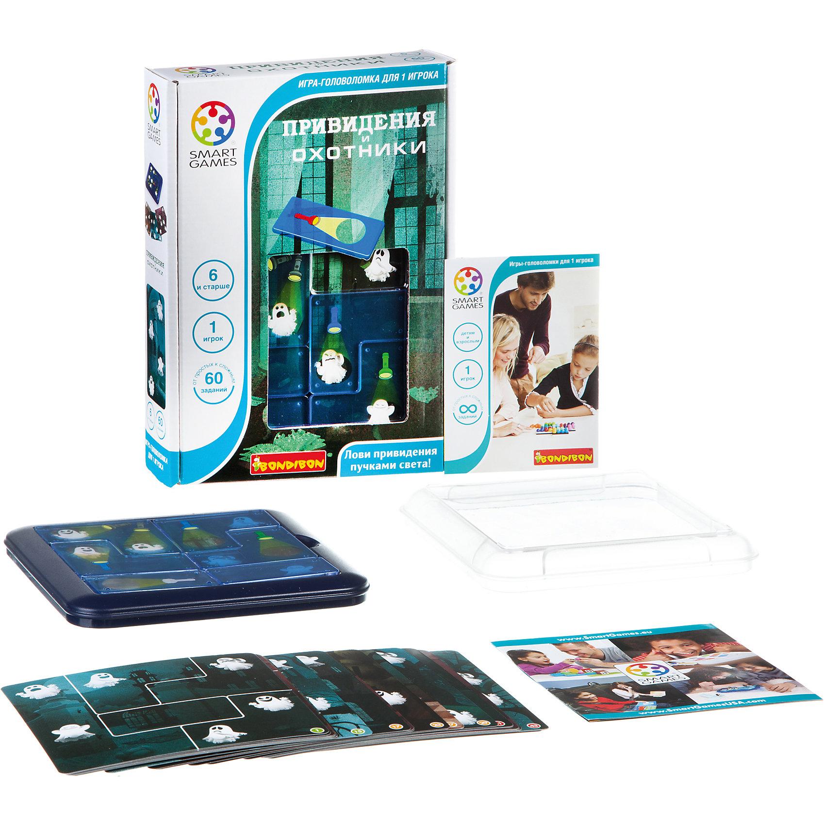 Логическая игра Охотники и Привидения, BondibonСтратегические настольные игры<br>Логическая игра Охотники и Привидения, Bondibon (Бондибон).<br><br>Характеристики:<br><br>• Возраст: от 6 лет<br>• Комплектация: игровое поле в виде пластиковой коробочки, карточки, тайлы с фонариками<br>• Количество игроков: 1 человек<br>• Материал: пластик, картон<br>• Упаковка: картонная коробка<br>• Размер упаковки: 4,5x24x17 см.<br>• Вес: 517 гр.<br><br>Вы когда-нибудь задавались вопросом, что призраки делают в доме? Станьте охотником в этой игре, чтобы узнать! На поле настольной игры-головоломки «Охотники и Привидения» располагаются маленькие привидения, и вам необходимо разместить пластиковые тайлы с фонариками так, чтобы каждое из них оказалось подсвеченным. <br><br>Действие происходит на компактном поле с меняющимся фоном, поэтому осветить призраков будет не так-то просто! 60 заданий 4 уровней сложности покажутся страшно интересными и детям, и взрослым! Игра развивает логическое мышление, визуальное восприятие, пространственное представление.<br><br>Логическую игру Охотники и Привидения, Bondibon (Бондибон) можно купить в нашем интернет-магазине.<br><br>Ширина мм: 45<br>Глубина мм: 240<br>Высота мм: 170<br>Вес г: 517<br>Возраст от месяцев: 72<br>Возраст до месяцев: 144<br>Пол: Унисекс<br>Возраст: Детский<br>SKU: 5451759