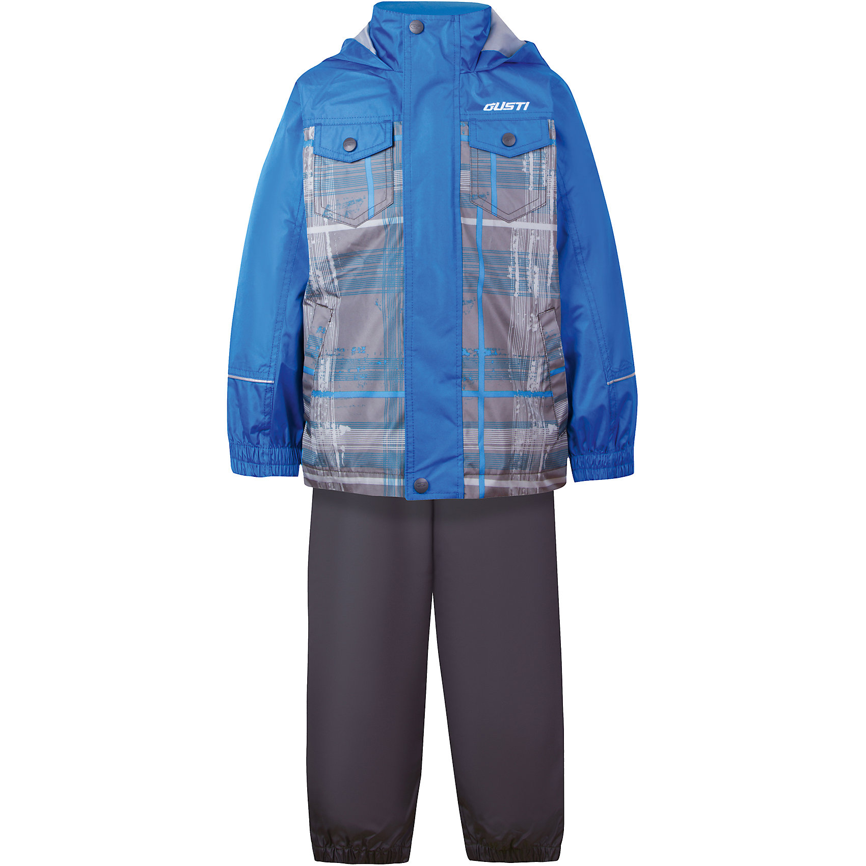 Комплект: куртка, толстовка и брюки для мальчика GustiВерхняя одежда<br>Характеристики товара:<br><br>• цвет: синий/коричневый<br>• куртка: 100% полиэстер, съёмная флисовая толстовка: 100% полиэстер<br>• брюки: верх 100% полиэстер, подкладка 100% х/б<br>• без утеплителя<br>• комплектация: куртка, съемная флисовая подкладка, брюки<br>• температурный режим: от 0° С до +15° С<br>• водонепроницаемость: 2000 мм<br>• воздухопроницаемость: 2000 мм<br>• ветронепродуваемый<br>• капюшон не отстёгивается<br>• пять внешних карманов<br>• съемные подтяжки<br>• брючины эластичные<br>• светоотражающие элементы<br>• молния<br>• страна бренда: Канада<br><br>Этот демисезонный комплект из куртки, пристегивающейся к ней толстовки из флиса, и штанов поможет обеспечить ребенку комфорт и тепло. Предметы удобно садятся по фигуре, отлично смотрятся с различной обувью. Комплект очень модно выглядит, он хорошо защищает от ветра и влаги. Материал отлично подходит для дождливой погоды. Стильный дизайн разрабатывался специально для детей.<br><br>Комплект: куртка, толстовка и брюки для мальчика от известного бренда Gusti (Густи) можно купить в нашем интернет-магазине.<br><br>Ширина мм: 356<br>Глубина мм: 10<br>Высота мм: 245<br>Вес г: 519<br>Цвет: синий<br>Возраст от месяцев: 12<br>Возраст до месяцев: 15<br>Пол: Мужской<br>Возраст: Детский<br>Размер: 80,152,140,128,122,120,116,110,104,100,98,92,90,86<br>SKU: 5452374