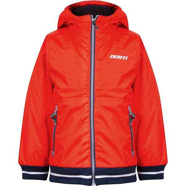 Куртка для мальчика GustiВерхняя одежда<br>Характеристики товара:<br><br>• цвет: оранжевый<br>• состав: 100% полиэстер, полиуретановое покрытие, подкладка - 100% полиэстер<br>• наполнитель: 100 гр teck polifill<br>• температурный режим: от +5° С до +15° С<br>• водонепроницаемый материал<br>• капюшон<br>• карманы<br>• водонепроницаемость: 2000 мм<br>• паропроницаемость: 2000 г/м2<br>• комфортная посадка<br>• светоотражающие элементы<br>• молния<br>• подкладка: таффета<br>• демисезонная<br>• страна бренда: Канада<br><br>Эта демисезонная куртка с мембранной технологией поможет обеспечить ребенку комфорт и тепло. Изделие удобно садится по фигуре, отлично смотрится с различным низом и обувью. Куртка модно выглядит, она хорошо защищает от ветра и влаги. Материал отлично подходит для дождливой погоды. Стильный дизайн разрабатывался специально для детей.<br><br>Куртку для мальчика от известного бренда Gusti (Густи) можно купить в нашем интернет-магазине.<br>Ширина мм: 356; Глубина мм: 10; Высота мм: 245; Вес г: 519; Цвет: оранжевый; Возраст от месяцев: 18; Возраст до месяцев: 24; Пол: Мужской; Возраст: Детский; Размер: 90,110,116,120,122,128,80,86,92,98,100,104; SKU: 5452389;