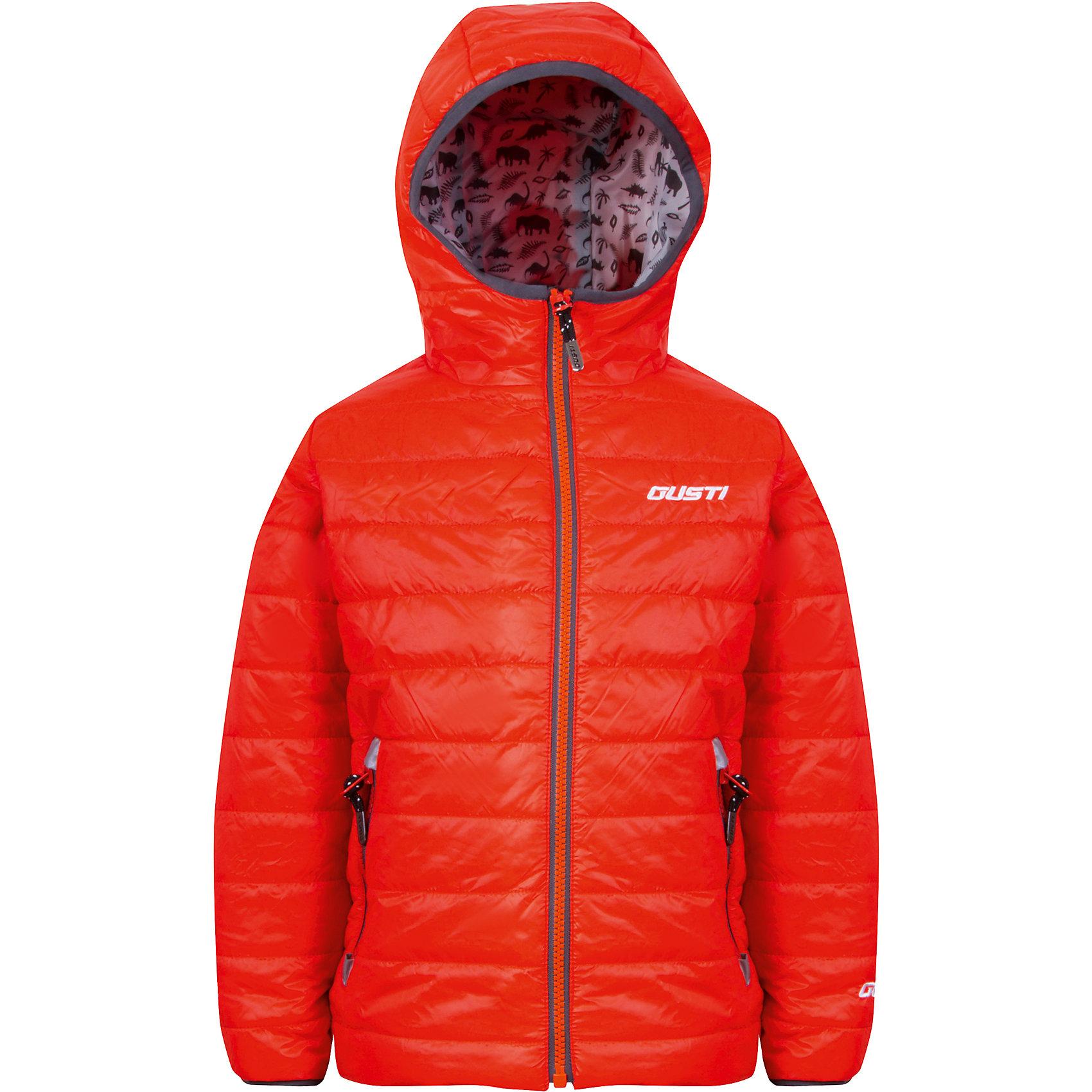 Куртка для мальчика GustiВерхняя одежда<br>Характеристики товара:<br><br>• цвет: оранжевый<br>• состав: 100% полиэстер, полиуретановое покрытие, подкладка - 100% полиэстер<br>• наполнитель: 100 гр teck polifill<br>• температурный режим: от +5° С до +15° С<br>• водонепроницаемый материал<br>• капюшон<br>• карманы<br>• водонепроницаемость: 2000 мм<br>• паропроницаемость: 2000 г/м2<br>• комфортная посадка<br>• светоотражающие элементы<br>• молния<br>• подкладка: таффета<br>• демисезонная<br>• страна бренда: Канада<br><br>Эта демисезонная куртка с мембранной технологией поможет обеспечить ребенку комфорт и тепло. Изделие удобно садится по фигуре, отлично смотрится с различным низом и обувью. Куртка модно выглядит, она хорошо защищает от ветра и влаги. Материал отлично подходит для дождливой погоды. Стильный дизайн разрабатывался специально для детей.<br><br>Куртку для мальчика от известного бренда Gusti (Густи) можно купить в нашем интернет-магазине.<br><br>Ширина мм: 356<br>Глубина мм: 10<br>Высота мм: 245<br>Вес г: 519<br>Цвет: оранжевый<br>Возраст от месяцев: 18<br>Возраст до месяцев: 24<br>Пол: Мужской<br>Возраст: Детский<br>Размер: 92,152,98,104,110,116,120,122,128,140<br>SKU: 5452414