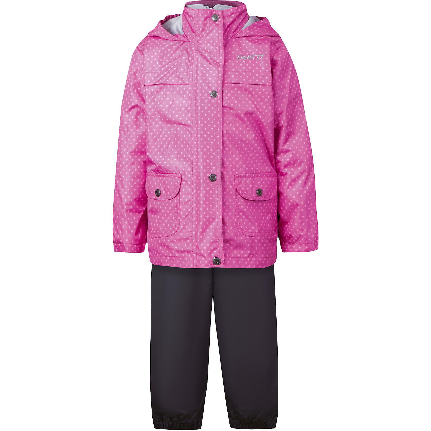 Комплект: куртка, толстовка и брюки для девочки GustiВерхняя одежда<br>Характеристики товара:<br><br>• цвет: розовый<br>• состав: 100% полиэстер, подкладка, утеплитель - 100% полиэстер<br>• комплектация: куртка, съемная флисовая подкладка, брюки<br>• температурный режим: от +5° С до +15° С<br>• водонепроницаемый материал<br>• капюшон<br>• карманы<br>• съемные подтяжки<br>• брючины эластичные<br>• комфортная посадка<br>• светоотражающие элементы<br>• молния<br>• утеплитель: синтепон<br>• демисезонный<br>• страна бренда: Канада<br><br>Этот демисезонный комплект из куртки, пристегивающейся к ней толстовки из флиса, и штанов поможет обеспечить ребенку комфорт и тепло. Предметы удобно садятся по фигуре, отлично смотрятся с различной обувью. Комплект очень модно выглядит, он хорошо защищает от ветра и влаги. Материал отлично подходит для дождливой погоды. Стильный дизайн разрабатывался специально для детей.<br><br>Комплект: куртка, толстовка и брюки для девочки от известного бренда Gusti (Густи) можно купить в нашем интернет-магазине.<br><br>Ширина мм: 356<br>Глубина мм: 10<br>Высота мм: 245<br>Вес г: 519<br>Цвет: розовый<br>Возраст от месяцев: 12<br>Возраст до месяцев: 15<br>Пол: Женский<br>Возраст: Детский<br>Размер: 80,120,116,110,104,100,98,92,90,86<br>SKU: 5452425