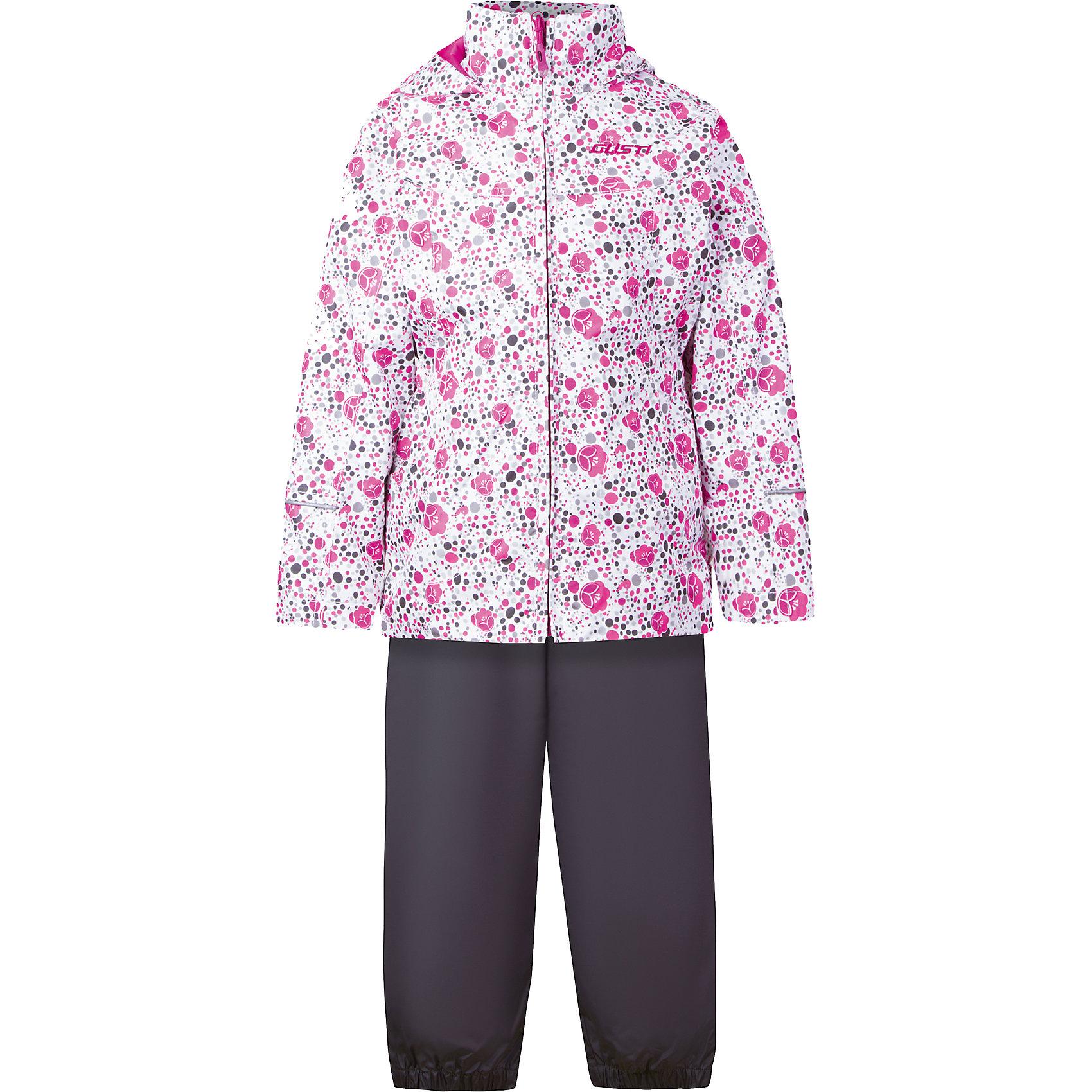Комплект: куртка, толстовка и брюки для девочки GustiКомплект: куртка, толстовка и брюки для девочки от известного бренда Gusti.<br>Ткань верха куртки– Таслан ( Taslan )- мембрана с коэффициентом водонепроницаемости 2000 мм и коэффициентом паропроницаемости 2000 г/м2, одежда ветронепродуваемая. Благодаря тонкому полиуретановому напылению изнутри не промокает даже при сильной влаге, но при этом дышит (защита от влаги не препятствует циркуляции воздуха). Плотность ткани Т190 обеспечивает высокую износостойкость. Толстовка – высокотехнологичный флис COOLQUICK. Специальное кручение нитей позволяет ткани максимально впитывать влагу и увеличивать испаряемость с поверхности, т.е. выпустить пар, но не пропускает влагу снаружи, что обеспечивает комфорт даже при высоких физических нагрузках. Этот материал ранее был разработан специально для спортсменов, которые испытывали сильные нагрузки во время активного движения, а теперь принес комфорт и тепло в нашу повседневную жизнь.  Это особенно важно для детей, когда они гуляют на свежем воздухе , чтобы тело всегда оставалось сухим и теплым. Брюки - ткань верха: Таслан ( Taslan )- мембрана с коэффициентом водонепроницаемости 2000 мм и коэффициентом паропроницаемости 2000 г/м2, одежда ветронепродуваемая. Благодаря тонкому полиуретановому напылению изнутри не промокает даже при сильной влаге, но при этом дышит (защита от влаги не препятствует циркуляции воздуха). Плотность ткани Т190 обеспечивает высокую износостойкость. Подкладка 100%  х/б.<br>Состав:<br>Куртка: 100% полиэстер.  Толстовка: 100% полиэстер.  Брюки: верх 100% полиэстер, подкладка 100% х/б.<br><br>Ширина мм: 356<br>Глубина мм: 10<br>Высота мм: 245<br>Вес г: 519<br>Цвет: белый<br>Возраст от месяцев: 12<br>Возраст до месяцев: 15<br>Пол: Женский<br>Возраст: Детский<br>Размер: 122,80,128,86,90,92,98,100,104,110,116,120<br>SKU: 5452451