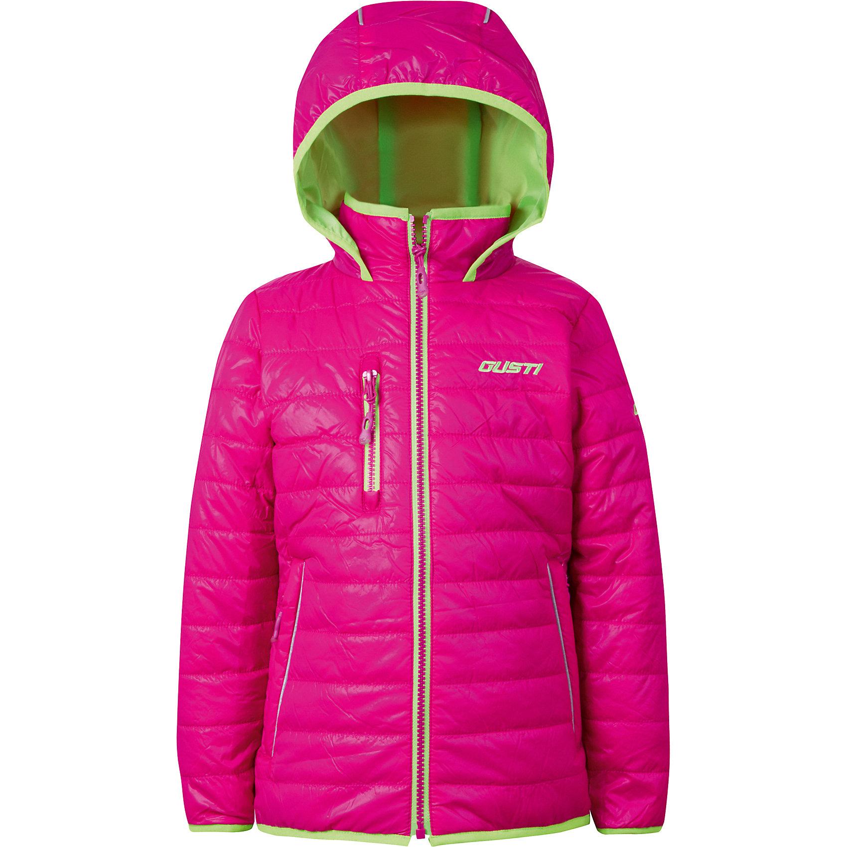 Куртка для девочки GustiВерхняя одежда<br>Характеристики товара:<br><br>• цвет: розовый<br>• состав: 100% полиэстер, полиуретановое покрытие, подкладка - 100% полиэстер<br>• наполнитель: 100 гр teck polifill<br>• температурный режим: от +5° С до +15° С<br>• водонепроницаемый материал<br>• капюшон<br>• карманы<br>• водонепроницаемость: 2000 мм<br>• паропроницаемость: 2000 г/м2<br>• комфортная посадка<br>• светоотражающие элементы<br>• молния<br>• подкладка: таффета<br>• демисезонная<br>• страна бренда: Канада<br><br>Эта демисезонная куртка с мембранной технологией поможет обеспечить ребенку комфорт и тепло. Изделие удобно садится по фигуре, отлично смотрится с различным низом и обувью. Куртка модно выглядит, она хорошо защищает от ветра и влаги. Материал отлично подходит для дождливой погоды. Стильный дизайн разрабатывался специально для детей.<br><br>Куртку для девочки от известного бренда Gusti (Густи) можно купить в нашем интернет-магазине.<br><br>Ширина мм: 356<br>Глубина мм: 10<br>Высота мм: 245<br>Вес г: 519<br>Цвет: лиловый<br>Возраст от месяцев: 18<br>Возраст до месяцев: 24<br>Пол: Женский<br>Возраст: Детский<br>Размер: 92,152,98,100,104,110,116,120,122,128,140<br>SKU: 5452526