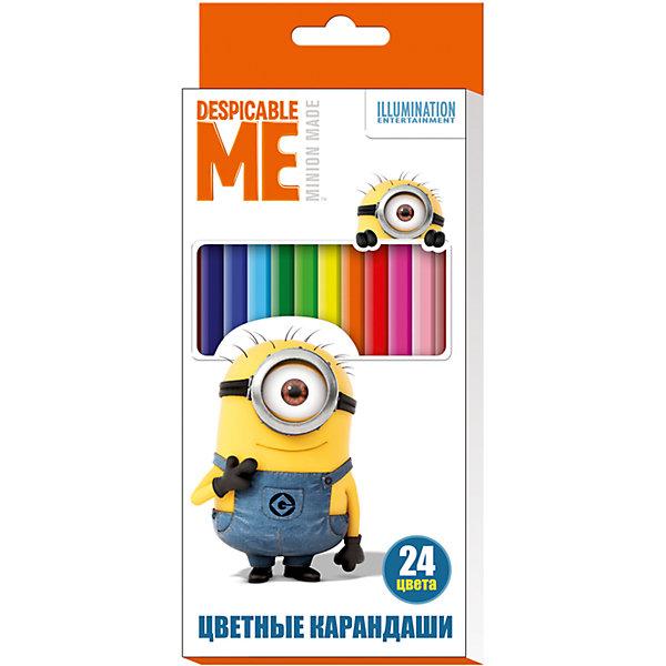 Цветные карандаши, 24 цвета,  Гадкий ЯМиньоны<br>Характеристики цветных карандашей 24 цвета, Гадкий Я:<br><br>• возраст: от 3 лет<br>• пол: для мальчиков и девочек<br>• комплект: 24 карандаша<br>• состав: дерево, грифель.<br>• упаковка: картонная коробка открытого типа.<br>• размер упаковки: 17.8 х 9 х 1.5 см.<br>• бренд: Росмэн<br>• страна обладатель бренда: Россия.<br><br>Яркие карандаши ТМ Despicable Me © Universal Studios помогут маленькому художнику создавать красивые картинки, а любимые герои вдохновят малыша на новые интересные идеи. В набор входит 24 цветных мягких и одновременно прочных карандаша, идеально подходящих для рисования, письма и раскрашивания. Яркие линии получаются без сильного нажима. Благодаря высококачественной древесине, карандаши легко затачиваются. Прочный грифель не крошится при падении и не ломается при заточке. <br><br>Цветные карандаши, 24 цвета, Гадкий Я от бренда Росмэн можно купить в нашем интернет-магазине.<br><br>Ширина мм: 178<br>Глубина мм: 90<br>Высота мм: 150<br>Вес г: 139<br>Возраст от месяцев: 36<br>Возраст до месяцев: 2147483647<br>Пол: Унисекс<br>Возраст: Детский<br>SKU: 5453332