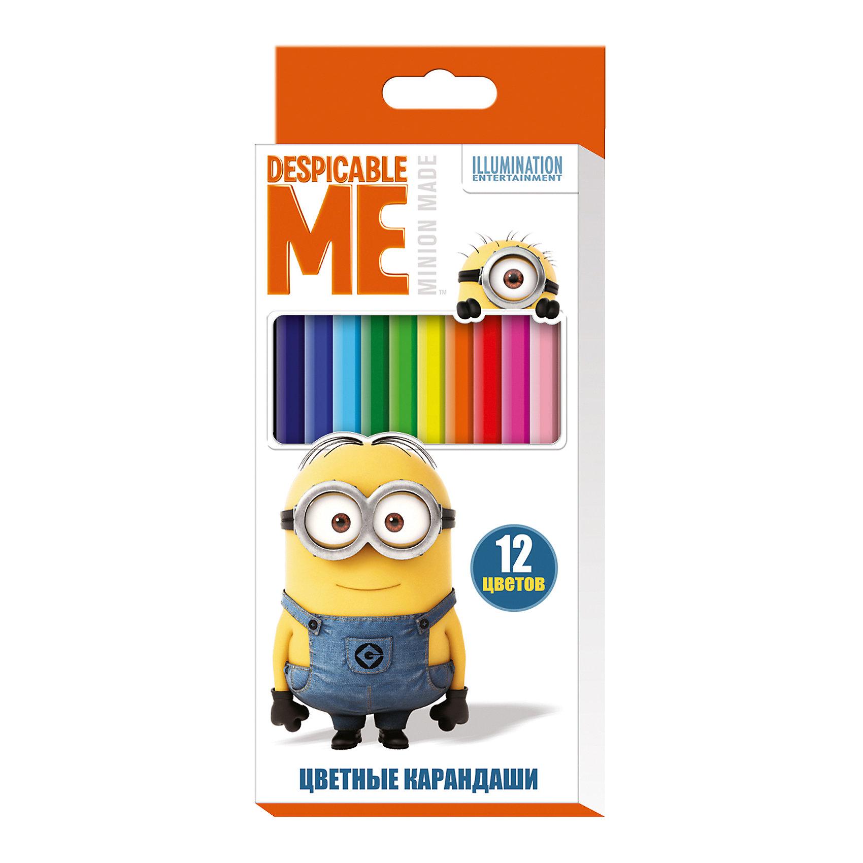 Цветные карандаши, 12 цветов, Гадкий ЯЯркие карандаши ТМ Despicable Me © Universal Studios помогут маленькому художнику создавать красивые картинки, а любимые герои вдохновят малыша на новые интересные идеи. В набор входит 12 цветных мягких и одновременно прочных карандашей, идеально подходящих для рисования, письма и раскрашивания. Яркие линии получаются без сильного нажима. Благодаря высококачественной древесине, карандаши легко затачиваются. Прочный грифель не крошится при падении и не ломается при заточке. Состав: древесина, цветной грифель. Срок годности не ограничен.<br><br>Ширина мм: 177<br>Глубина мм: 90<br>Высота мм: 80<br>Вес г: 77<br>Возраст от месяцев: 36<br>Возраст до месяцев: 2147483647<br>Пол: Унисекс<br>Возраст: Детский<br>SKU: 5453333