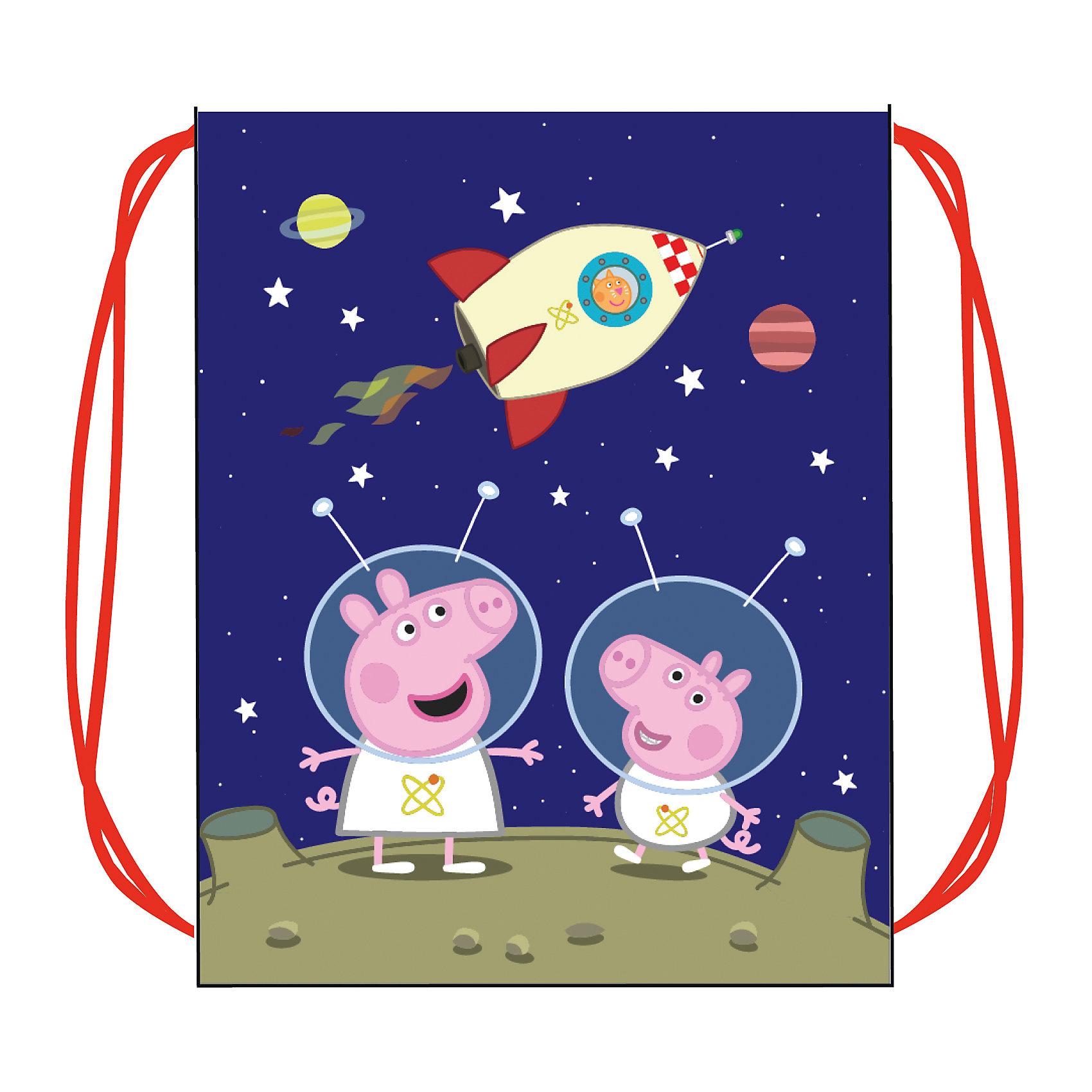 Мешок для обуви Космос, Peppa PigМешок для обуви с изображением космического путешествия Свинки Пеппы и ее братика Джорджа – это красивый и удобный помощник в школе и спорте, который непременно понравится малышу. Вместительный мешок ТМ «Свинка Пеппа» подходит для обуви любого размера и затягивается шнурками, дополнительно выполняющими функцию лямок. Аксессуар изготовлен из износостойкой ткани, имеет длительный срок службы и декорирован красочным принтом. Размер: 46х35см. Материал: полиэстер.<br><br>Ширина мм: 220<br>Глубина мм: 180<br>Высота мм: 50<br>Вес г: 40<br>Возраст от месяцев: 36<br>Возраст до месяцев: 2147483647<br>Пол: Унисекс<br>Возраст: Детский<br>SKU: 5453345