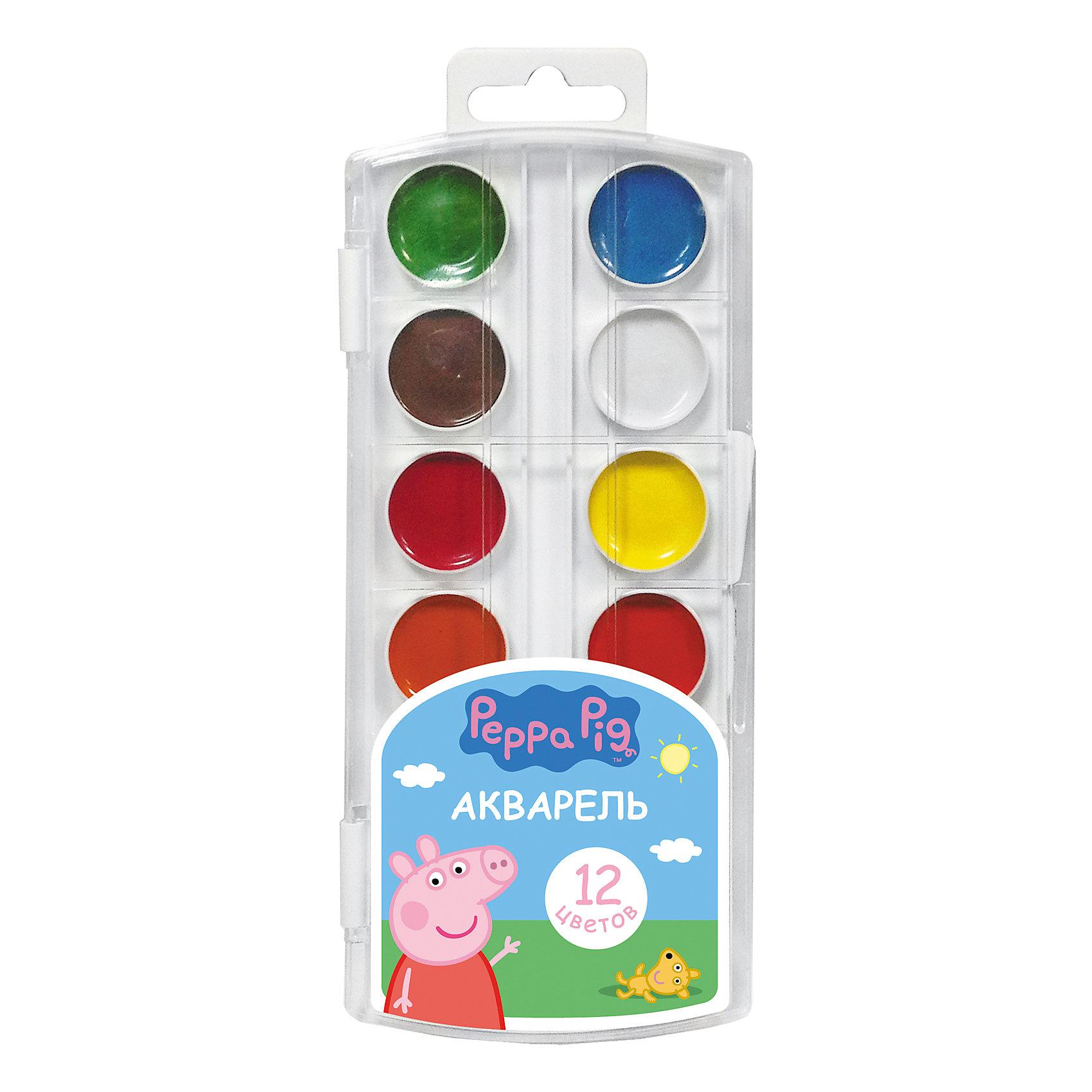 Акварель 12 цветов Свинка Пеппа, Peppa PigВ наборе акварельных красок «Свинка Пеппа» 12 насыщенных цветов, которые помогут вашему малышу создать яркие картинки. Краски идеально подходят для рисования: они хорошо размываются водой, легко наносятся на поверхность, быстро сохнут, безопасны при использовании по назначению. Состав: вода питьевая, декстрин, глицерин, сахар, органические и неорганические тонкодисперсные пигменты, консервант, наполнитель. Не содержит спирта. Товар сертифицирован. Срок годности не ограничен. Размер упаковки: 8,5х19,7х1,2 см.<br><br>Ширина мм: 195<br>Глубина мм: 80<br>Высота мм: 100<br>Вес г: 80<br>Возраст от месяцев: 36<br>Возраст до месяцев: 2147483647<br>Пол: Унисекс<br>Возраст: Детский<br>SKU: 5453349