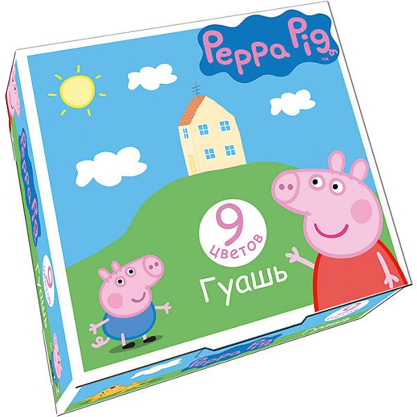 Гуашь Свинка Пеппа, 9 цветов, Peppa PigСвинка Пеппа<br>Характеристики гуаши Свинка Пеппа, 9 цветов, Peppa Pig:<br><br>• возраст: от 3 лет<br>• пол: для мальчиков и девочек<br>• герой: Свинка Пеппа / Peppa Pig<br>• комплект: 9 баночек с гуашью.<br>• размер упаковки: 11.3 х 10.8 x 3.5 см.<br>• упаковка: картонная коробка.<br>• состав: вода питьевая, метилцеллюлоза, пигменты органические и неорганические, глицерин. <br>• объем 1 баночки с гуашью: 17 мл.<br>• бренд: Росмэн<br>• страна обладатель бренда: Россия.<br><br>В наборе Свинка Пеппа 9 насыщенных цветов гуаши в прозрачных баночках по 17 мл с навинчивающимися крышками. Краска идеально подходит для рисования на бумаге, картоне, холсте, ткани и фанере: она хорошо размывается водой, легко наносится, при высыхании приобретает матовую, бархатистую поверхность. Гуашь легко смывается с рук и одежды, безопасна при использовании по назначению. Срок годности: 18 месяцев. <br><br>Гуашь Свинка Пеппа, 9 цветов, Peppa Pig торговой марки Росмен можно купить в нашем интернет-магазине.<br><br>Ширина мм: 113<br>Глубина мм: 108<br>Высота мм: 350<br>Вес г: 249<br>Возраст от месяцев: 36<br>Возраст до месяцев: 2147483647<br>Пол: Унисекс<br>Возраст: Детский<br>SKU: 5453350