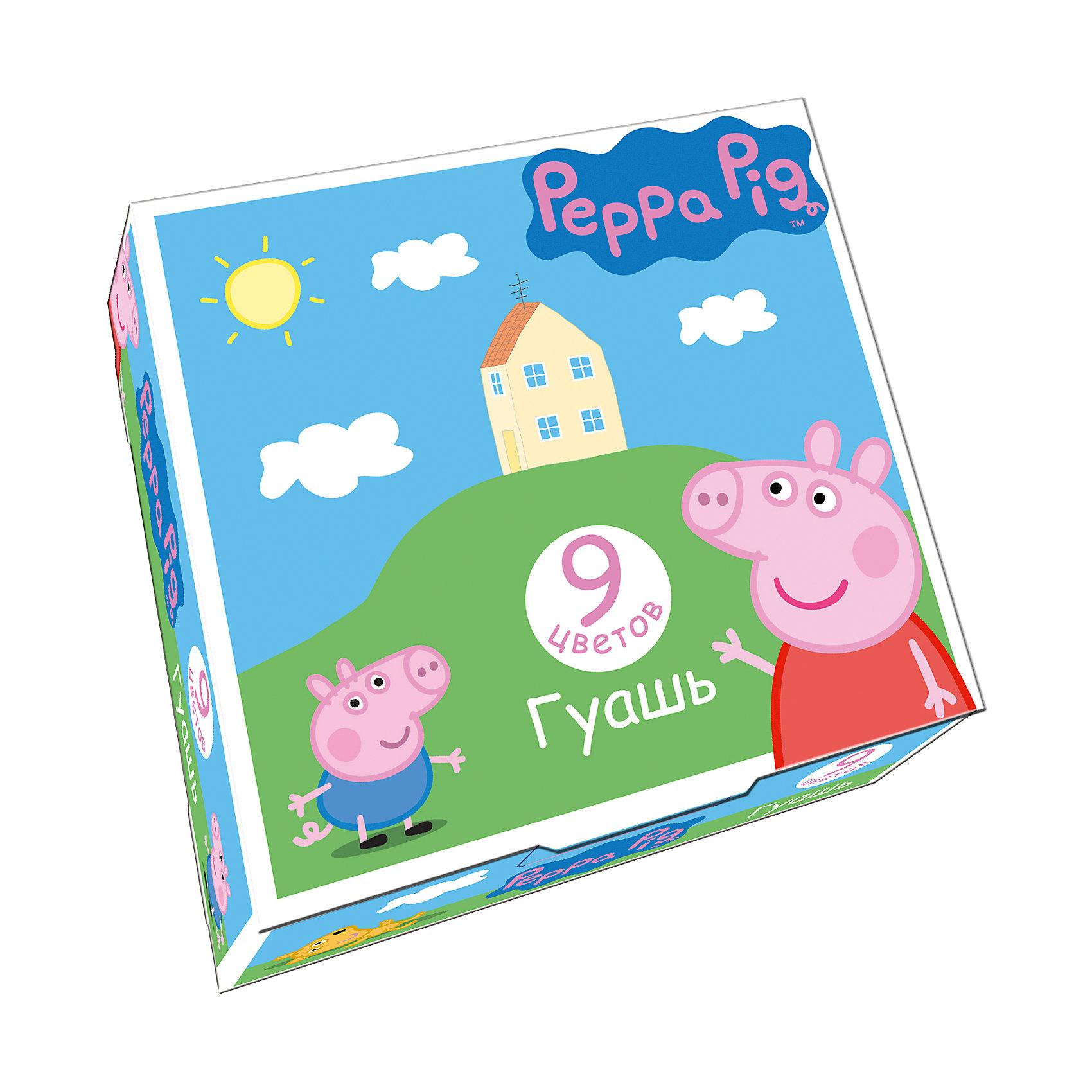 Гуашь Свинка Пеппа, 9 цветов, Peppa PigХарактеристики гуаши Свинка Пеппа, 9 цветов, Peppa Pig:<br><br>• возраст: от 3 лет<br>• пол: для мальчиков и девочек<br>• герой: Свинка Пеппа / Peppa Pig<br>• комплект: 9 баночек с гуашью.<br>• размер упаковки: 11.3 х 10.8 x 3.5 см.<br>• упаковка: картонная коробка.<br>• состав: вода питьевая, метилцеллюлоза, пигменты органические и неорганические, глицерин. <br>• объем 1 баночки с гуашью: 17 мл.<br>• бренд: Росмэн<br>• страна обладатель бренда: Россия.<br><br>В наборе Свинка Пеппа 9 насыщенных цветов гуаши в прозрачных баночках по 17 мл с навинчивающимися крышками. Краска идеально подходит для рисования на бумаге, картоне, холсте, ткани и фанере: она хорошо размывается водой, легко наносится, при высыхании приобретает матовую, бархатистую поверхность. Гуашь легко смывается с рук и одежды, безопасна при использовании по назначению. Срок годности: 18 месяцев. <br><br>Гуашь Свинка Пеппа, 9 цветов, Peppa Pig торговой марки Росмен можно купить в нашем интернет-магазине.<br><br>Ширина мм: 113<br>Глубина мм: 108<br>Высота мм: 350<br>Вес г: 249<br>Возраст от месяцев: 36<br>Возраст до месяцев: 2147483647<br>Пол: Унисекс<br>Возраст: Детский<br>SKU: 5453350