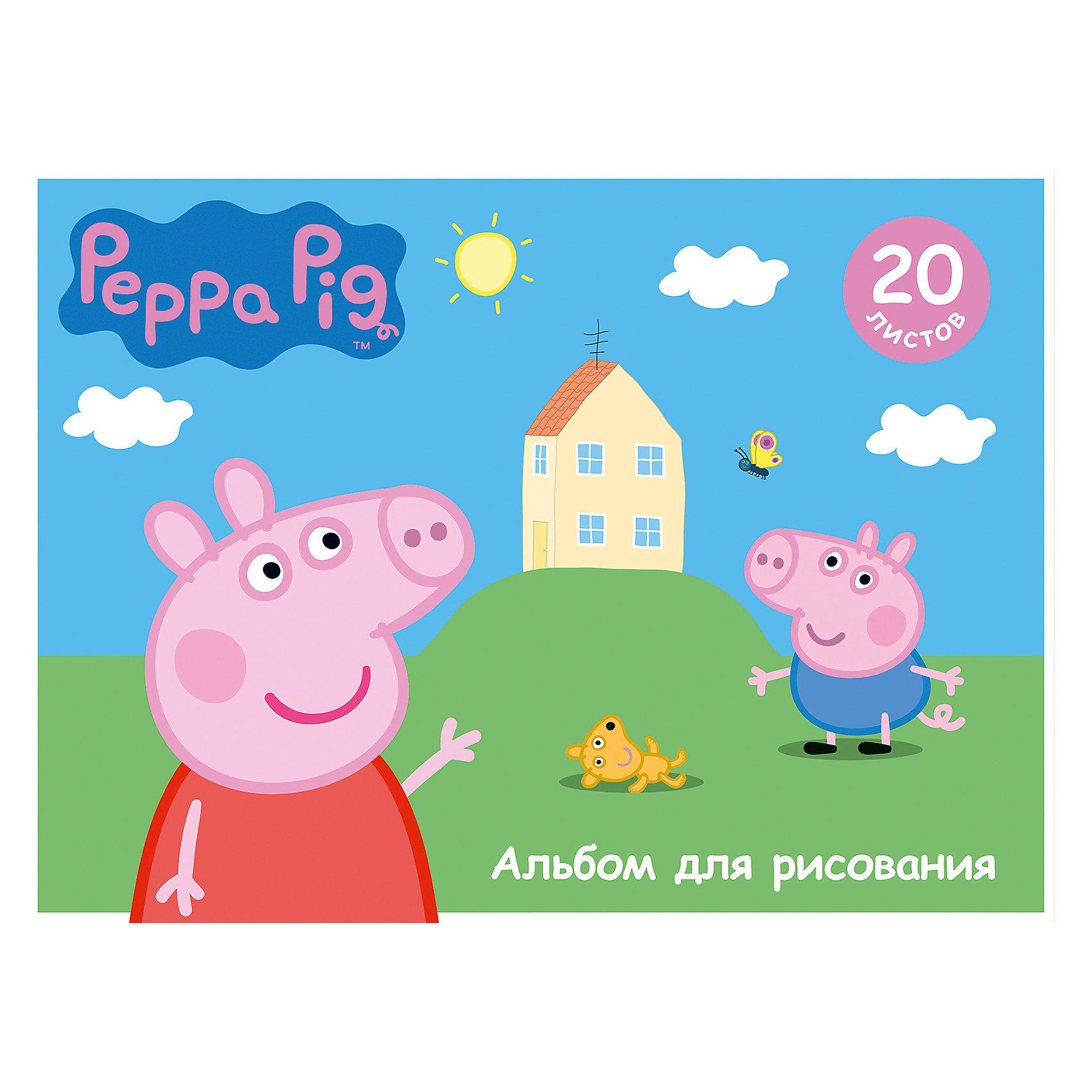 Альбом для рисования, 20 листов, Свинка Пеппа. Умница, Peppa PigБумажная продукция<br>Характеристики альбома для рисования, 20 листов, Свинка Пеппа. Умница, Peppa Pig:<br><br>• возраст: от 3 лет<br>• пол: для мальчиков и девочек<br>• герой: Свинка Пеппа / Peppa Pig<br>• состав: картон, бумага.<br>• количество листов: 20<br>• Формат: А4<br>• размер: 28 x 20 см.<br>• бренд: Росмэн<br>• страна обладатель бренда: Россия.<br><br>Альбом Свинка Пеппа формата А4 содержит 20 бумажных листов, которые, благодаря своей высокой плотности, идеально подходят для рисования акварелью, гуашью, карандашами и фломастерами. А обаятельные герои мультфильма, изображенные на обложке из импортного мелованного картона, призваны вдохновлять вашего маленького художника на новые шедевры детского творчества. Крепление - скрепка. <br><br>Альбом для рисования, 20 листов, Свинка Пеппа. Умница, Peppa Pig издательства Росмен можно купить в нашем интернет-магазине.<br><br>Ширина мм: 280<br>Глубина мм: 205<br>Высота мм: 40<br>Вес г: 136<br>Возраст от месяцев: 36<br>Возраст до месяцев: 2147483647<br>Пол: Унисекс<br>Возраст: Детский<br>SKU: 5453351