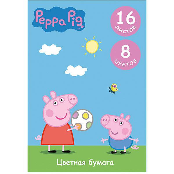 Цветная односторонняя бумага, 16 листов, 8 цветов,Свинка Пеппа, Peppa PigСвинка Пеппа<br>Характеристики цветной односторонней бумаги 16 листов, 8 цветов, Свинка Пеппа, Peppa Pig:<br><br>• возраст: от 3 лет<br>• герой: Свинка Пеппа<br>• пол: для мальчиков и девочек<br>• комплект: 16 листов цветной бумаги ( 8 цветов)<br>• состав : бумага<br>• формат: А4<br>• упаковка: картонный конверт<br>• размер упаковки: 29.2 x 0.2 x 20.5 см.<br>• бренд: Росмэн<br>• страна обладатель бренда: Россия.<br><br>Цветная бумага Свинка Пеппа формата А4 идеально подходит для детского творчества: создания аппликаций, оригами и других поделок. В упаковке 8 цветов (16 листов) мелованной бумаги с односторонней печатью: желтый, оранжевый, красный, синий, зеленый, фиолетовый, коричневый, черный. Упаковка: папка (29,4х20,5х0,4 см) с двумя клапанами, выполненная из мелованного картона с глянцевым лаком.<br><br>Цветную одностороннюю бумагу 16 листов, 8 цветов, Свинка Пеппа от бренда Росмэн можно купить в нашем интернет-магазине.<br>Ширина мм: 292; Глубина мм: 205; Высота мм: 20; Вес г: 108; Возраст от месяцев: 36; Возраст до месяцев: 2147483647; Пол: Унисекс; Возраст: Детский; SKU: 5453352;
