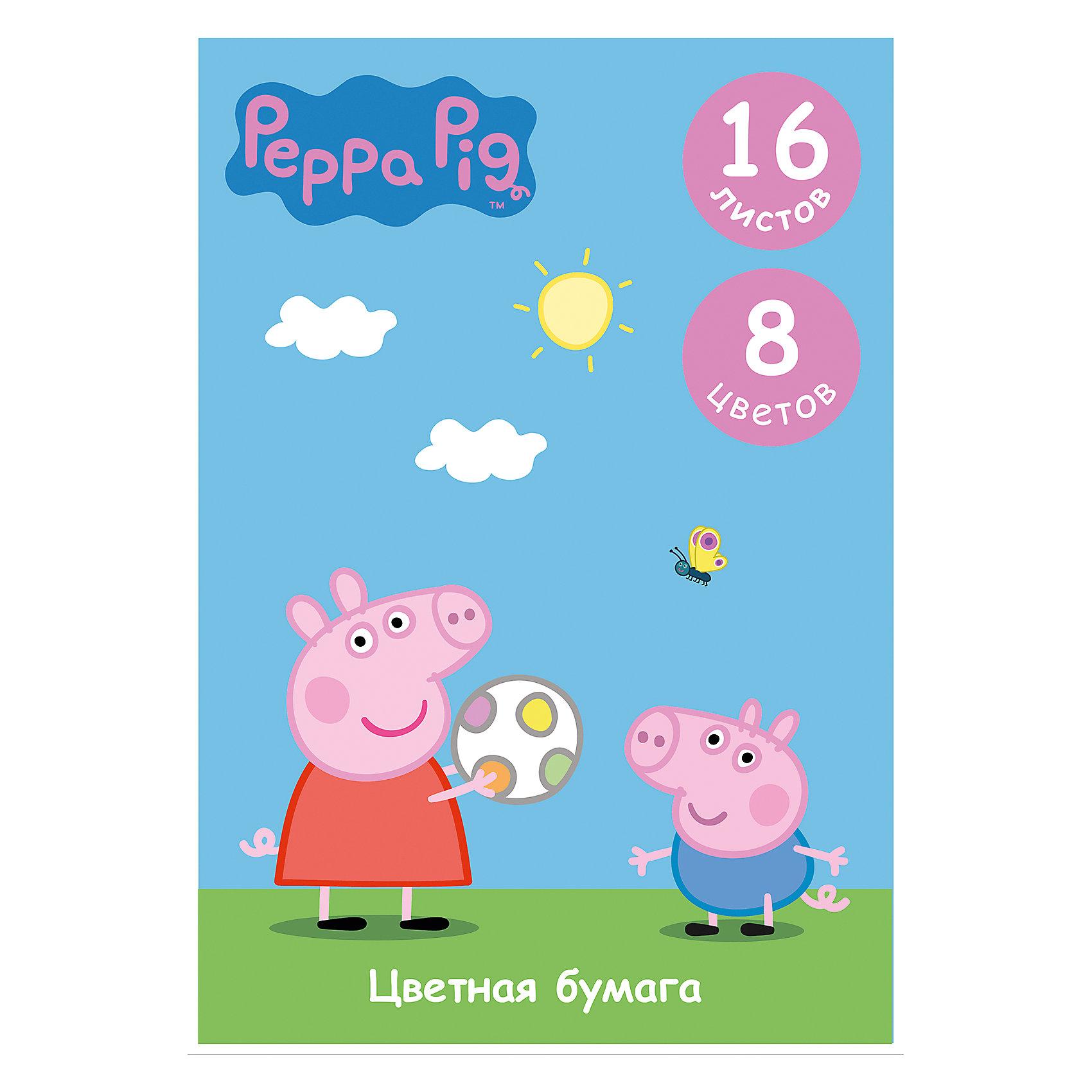 Цветная односторонняя бумага, 16 листов, 8 цветов,Свинка Пеппа, Peppa PigСвинка Пеппа<br>Характеристики цветной односторонней бумаги 16 листов, 8 цветов, Свинка Пеппа, Peppa Pig:<br><br>• возраст: от 3 лет<br>• герой: Свинка Пеппа<br>• пол: для мальчиков и девочек<br>• комплект: 16 листов цветной бумаги ( 8 цветов)<br>• состав : бумага<br>• формат: А4<br>• упаковка: картонный конверт<br>• размер упаковки: 29.2 x 0.2 x 20.5 см.<br>• бренд: Росмэн<br>• страна обладатель бренда: Россия.<br><br>Цветная бумага Свинка Пеппа формата А4 идеально подходит для детского творчества: создания аппликаций, оригами и других поделок. В упаковке 8 цветов (16 листов) мелованной бумаги с односторонней печатью: желтый, оранжевый, красный, синий, зеленый, фиолетовый, коричневый, черный. Упаковка: папка (29,4х20,5х0,4 см) с двумя клапанами, выполненная из мелованного картона с глянцевым лаком.<br><br>Цветную одностороннюю бумагу 16 листов, 8 цветов, Свинка Пеппа от бренда Росмэн можно купить в нашем интернет-магазине.<br><br>Ширина мм: 292<br>Глубина мм: 205<br>Высота мм: 20<br>Вес г: 108<br>Возраст от месяцев: 36<br>Возраст до месяцев: 2147483647<br>Пол: Унисекс<br>Возраст: Детский<br>SKU: 5453352