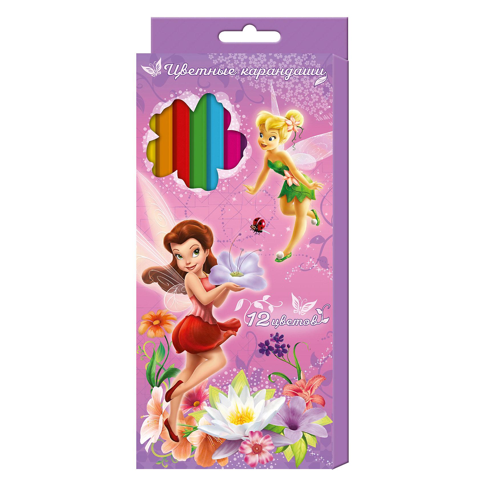 Цветные карандаши, 12 цветов, Disney FairiesЯркие карандаши ТМ Disney «Феи» помогут маленькой художнице создавать красивые картинки, а любимые герои вдохновят малышку на новые интересные идеи. В набор входит 12 цветных мягких и одновременно прочных карандашей, идеально подходящих для рисования, письма и раскрашивания. Яркие линии получаются без сильного нажима. Благодаря высококачественной древесине, карандаши легко затачиваются. Прочный грифель не крошится при падении и не ломается при заточке. Состав: древесина, цветной грифель. Срок годности не ограничен.<br><br>Ширина мм: 178<br>Глубина мм: 90<br>Высота мм: 80<br>Вес г: 77<br>Возраст от месяцев: 36<br>Возраст до месяцев: 2147483647<br>Пол: Унисекс<br>Возраст: Детский<br>SKU: 5453358