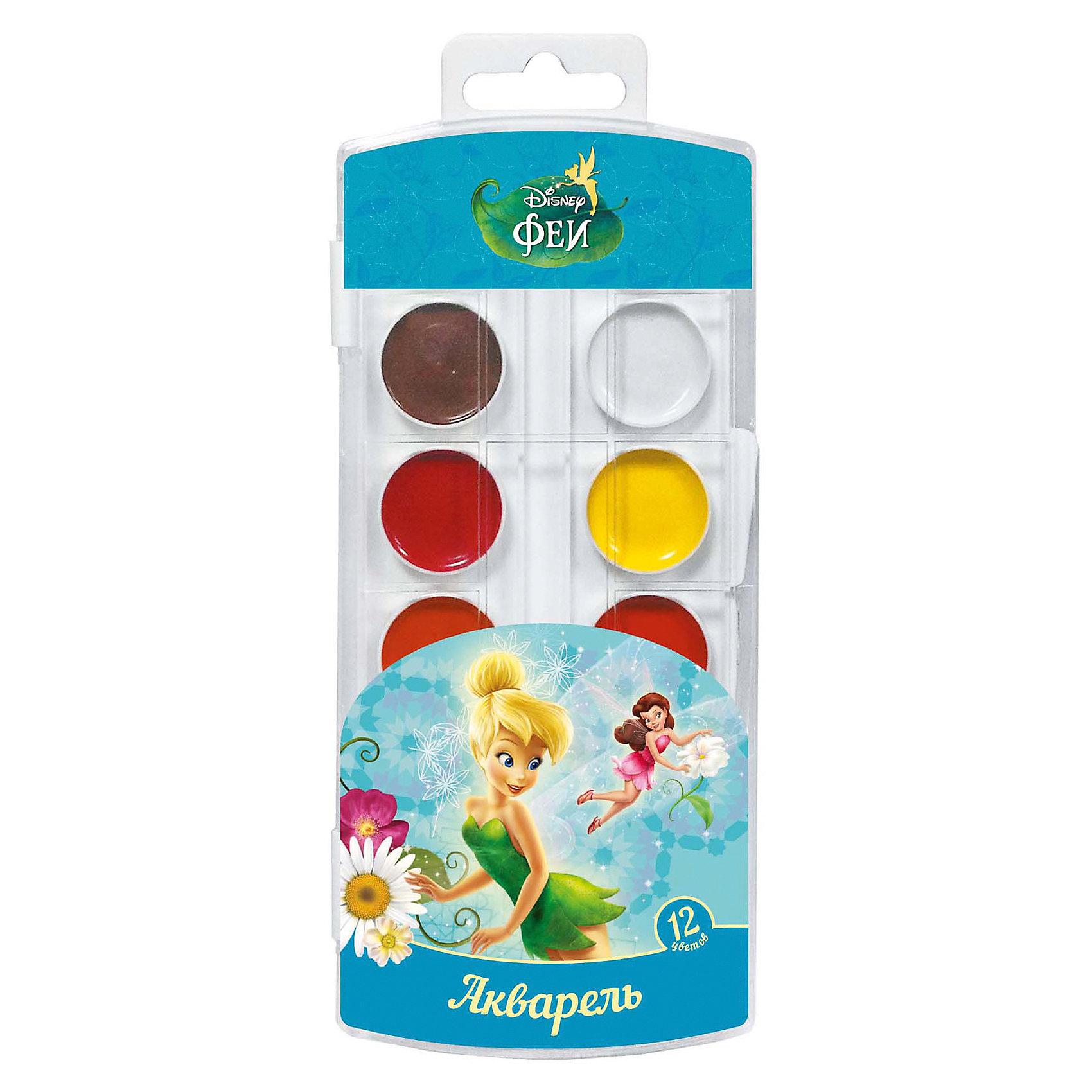 Акварель, 12 цветов, Disney FairiesРисование и лепка<br>Характеристики акварели 12 цветов, Disney Fairies :<br><br>• возраст: от 3-х лет<br>• пол: для мальчиков и девочек<br>• тип: акварель<br>• состав: вода питьевая, декстрин, глицерин, сахар, органические и неорганические тонкодисперсные пигменты, консервант, наполнитель. <br>• вес: 70 гр.<br>• упаковка пенал пластмассовый<br>• размеры, пенала - 18 х 8.5 х 1 см<br>• размер упаковки 20 x 8.5 x 1.3 см<br>• страна обладателя бренда: Украина <br><br>В наборе акварельных красок «Disney» Феи 12 ярких, насыщенных цветов. Краски превосходно подходят для рисования: они хорошо размываются водой, легко наносятся на поверхность, быстро сохнут, безопасны при использовании по назначению. Состав: вода питьевая, декстрин, глицерин, сахар, органические и неорганические тонкодисперсные пигменты, консервант, наполнитель. Срок годности не ограничен.<br><br>Акварель, 12 цветов, Disney Fairies можно купить в нашем интернет-магазине.<br><br>Ширина мм: 195<br>Глубина мм: 73<br>Высота мм: 110<br>Вес г: 81<br>Возраст от месяцев: 36<br>Возраст до месяцев: 2147483647<br>Пол: Женский<br>Возраст: Детский<br>SKU: 5453359