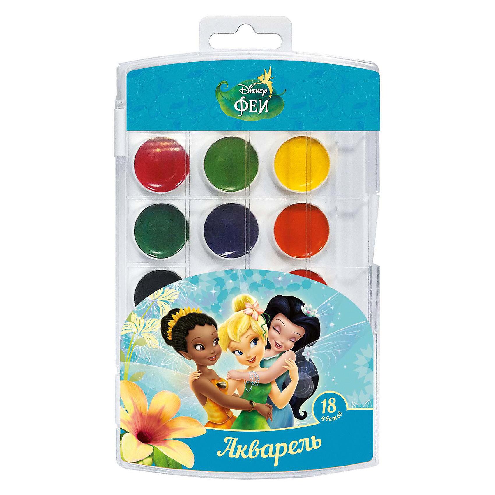 Акварель, 18 цветов, Disney FairiesХарактеристики акварели 18 цветов, Disney Fairies:<br><br>• возраст: от 3-х лет<br>• пол: для мальчиков и девочек<br>• тип: акварель<br>• состав: вода питьевая, декстрин, глицерин, сахар, органические и неорганические тонкодисперсные пигменты, консервант, наполнитель. <br>• вес: 105 гр.<br>• упаковка пенал пластмассовый<br>• размеры, пенала: 19.5 х 11.2 х 1 см<br>• размер упаковки : 20 x 11 x 1 см<br>• страна обладателя бренда: Украина <br><br>В наборе акварельных красок «Disney» Феи 18 ярких, насыщенных цветов. Краски превосходно подходят для рисования: они хорошо размываются водой, легко наносятся на поверхность, быстро сохнут, безопасны при использовании по назначению. Состав: вода питьевая, декстрин, глицерин, сахар, органические и неорганические тонкодисперсные пигменты, консервант, наполнитель. Срок годности не ограничен.<br><br>Акварель, 18 цветов, Disney Fairies можно купить в нашем интернет-магазине.<br><br>Ширина мм: 195<br>Глубина мм: 110<br>Высота мм: 100<br>Вес г: 118<br>Возраст от месяцев: 36<br>Возраст до месяцев: 2147483647<br>Пол: Женский<br>Возраст: Детский<br>SKU: 5453360