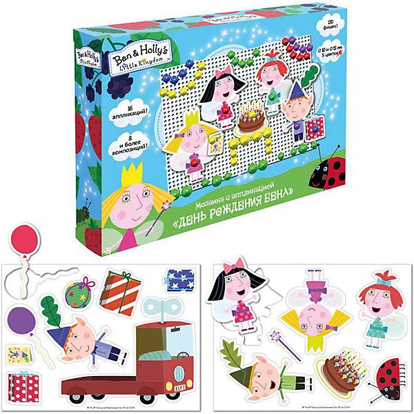 Мозаика с аппликацией «День рождения Бена», Бен и ХоллиМозаика детская<br>Характеристики товара:<br><br>• комплектация: 130 пластиковых фишек диаметром 15 и 10 мм (5 цветов), 2 пластиковые мини-платы (основы мозаики), 16 картонных фигур-аппликаций<br>• размер картинки: 11х16 см<br>• набор позволяет выполнить 8 и более композиций с героями мультфильма<br>• упаковка: коробка (18,5x4x20 см).<br>• состав: картон, полимер<br>• страна бренда: Россия<br>• страна изготовитель: Китай<br><br>С набором День рождения Бена малыш по инструкции составит 8 красивых композиций с героями мультфильма Маленькое королевство Бена и Холли и сам придумает много сюжетных картинок, по-разному сочетая фишки и аппликации. Для этого в наборе есть 130 фишек 5-ти цветов и 16 фигурок-аппликаций, которые дают безграничный простор для воображения.<br><br>В наборе День рождения Бена ТМ Бен и Холли: 130 пластиковых фишек диаметром 15 и 10 мм (5 цветов), 2 пластиковые мини-платы (основы мозаики) размером 11х16 см, 16 картонных фигур-аппликаций. Набор позволяет выполнить 8 и более композиций с героями мультфильма.<br><br>Мозаику с аппликацией «День рождения Бена», Бен и Холли, вы можете приобрести в нашем интернет-магазине.<br>Ширина мм: 250; Глубина мм: 180; Высота мм: 40; Вес г: 190; Возраст от месяцев: 144; Возраст до месяцев: 2147483647; Пол: Унисекс; Возраст: Детский; SKU: 5453371;